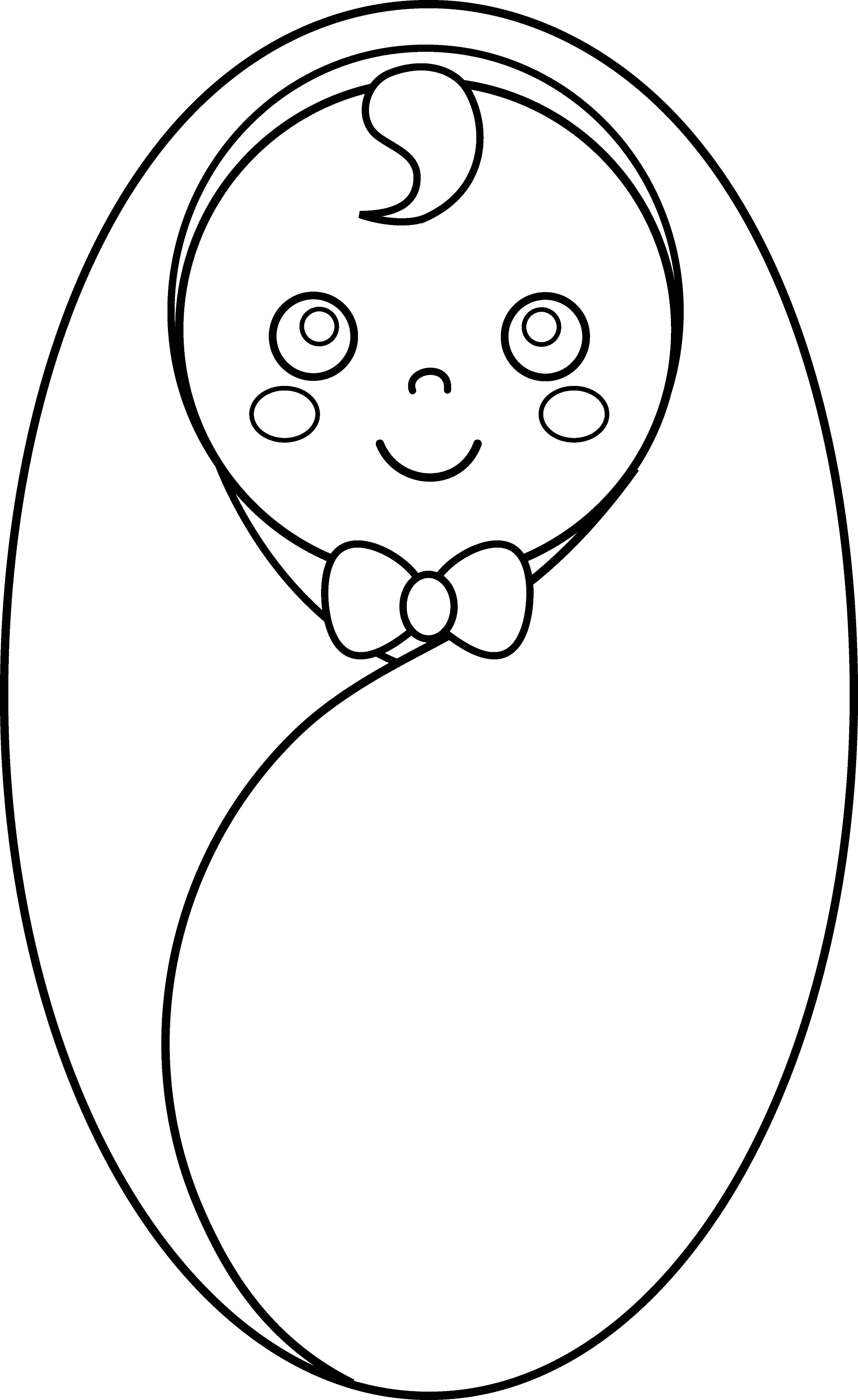 Line Art Baby : Baby wrapped in blanket coloring pages