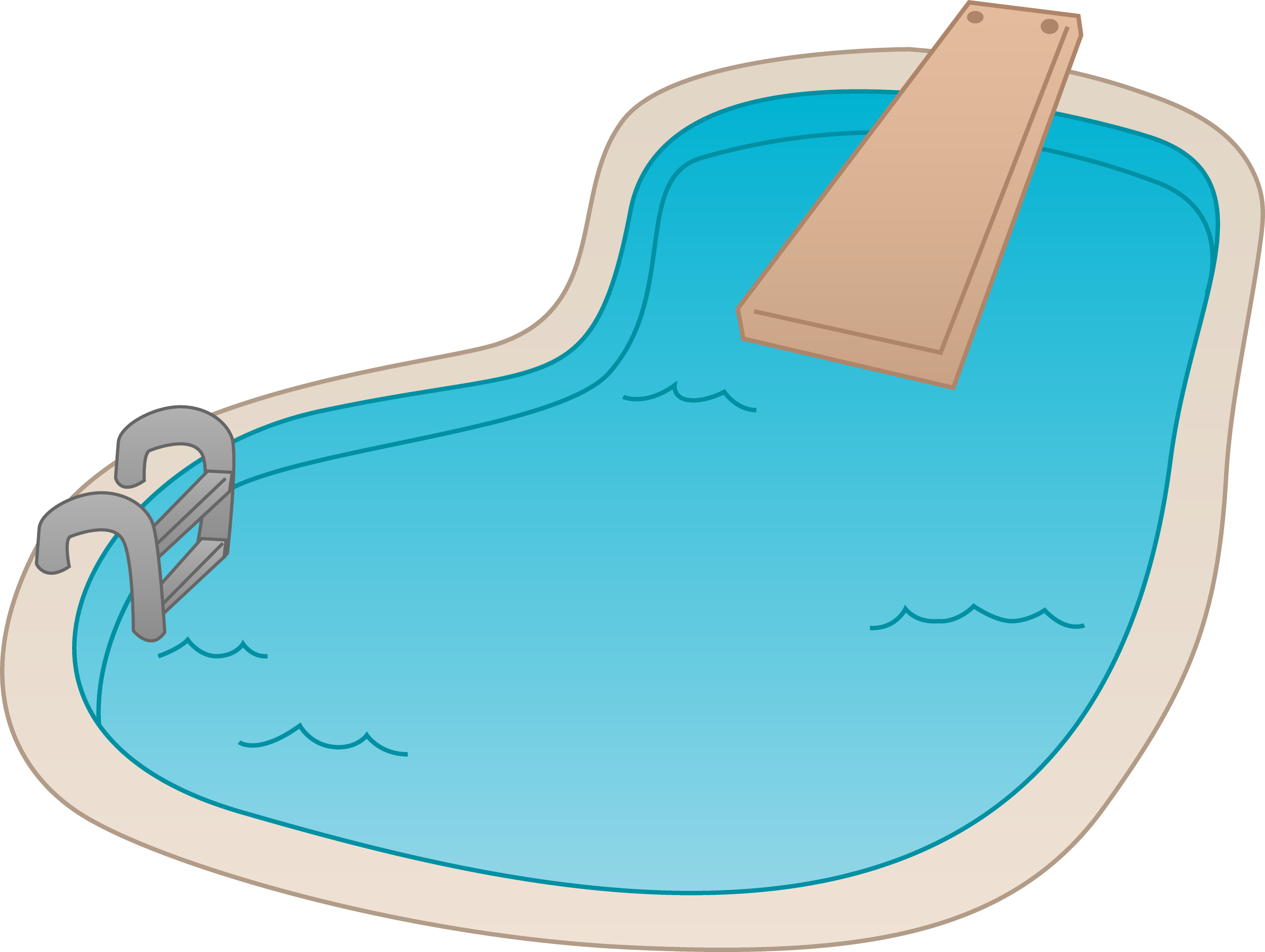 Swimming pool with diving board free clip art for Pool design graphic