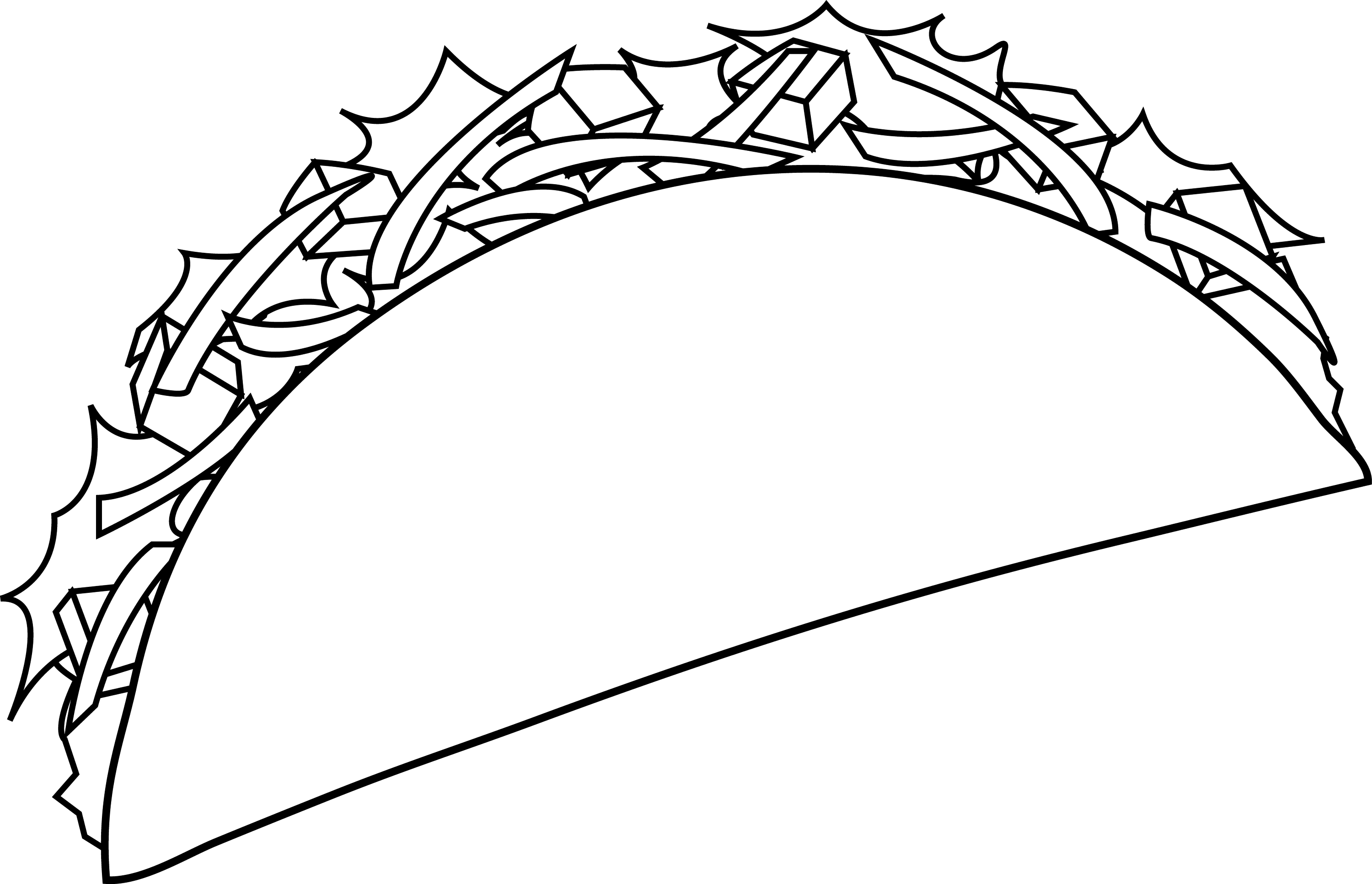 Colorable Taco Line Art - Free Clip Art