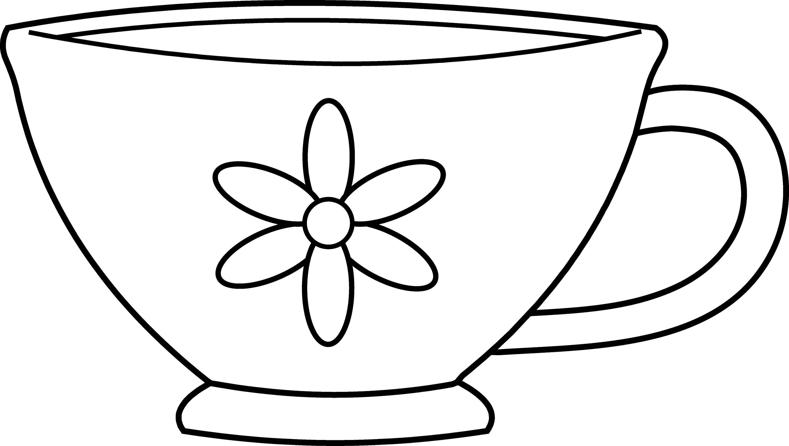Cute Teacup Coloring Page - Free Clip Art