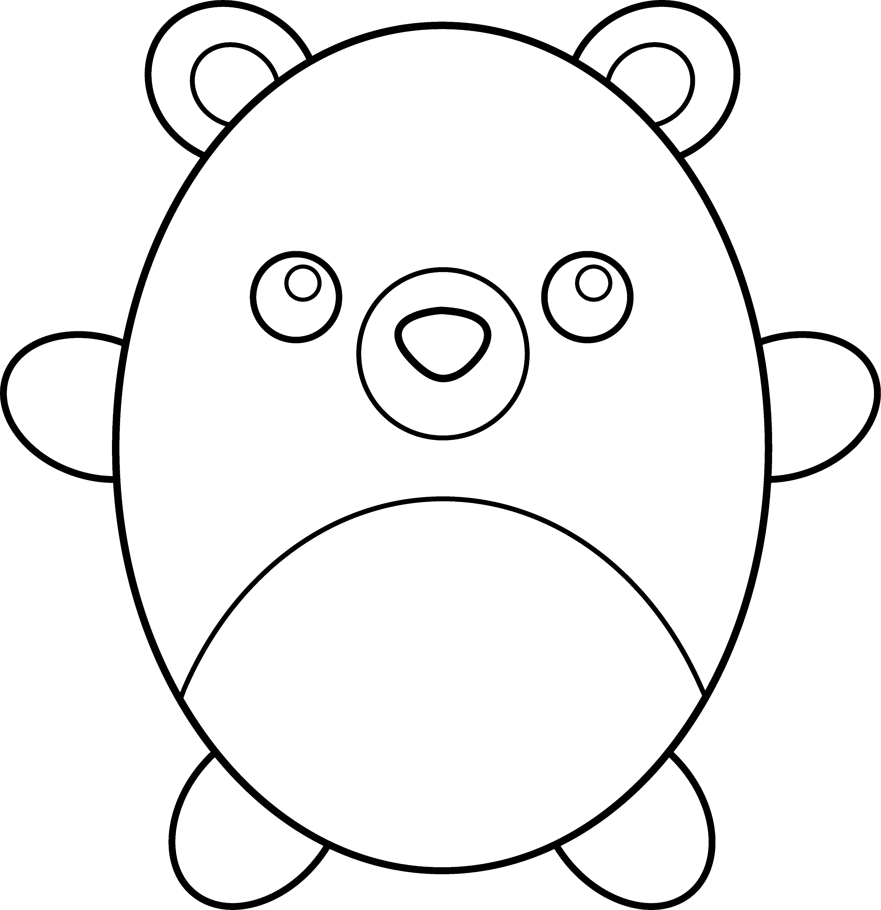 chubby teddy bear coloring page free clip art