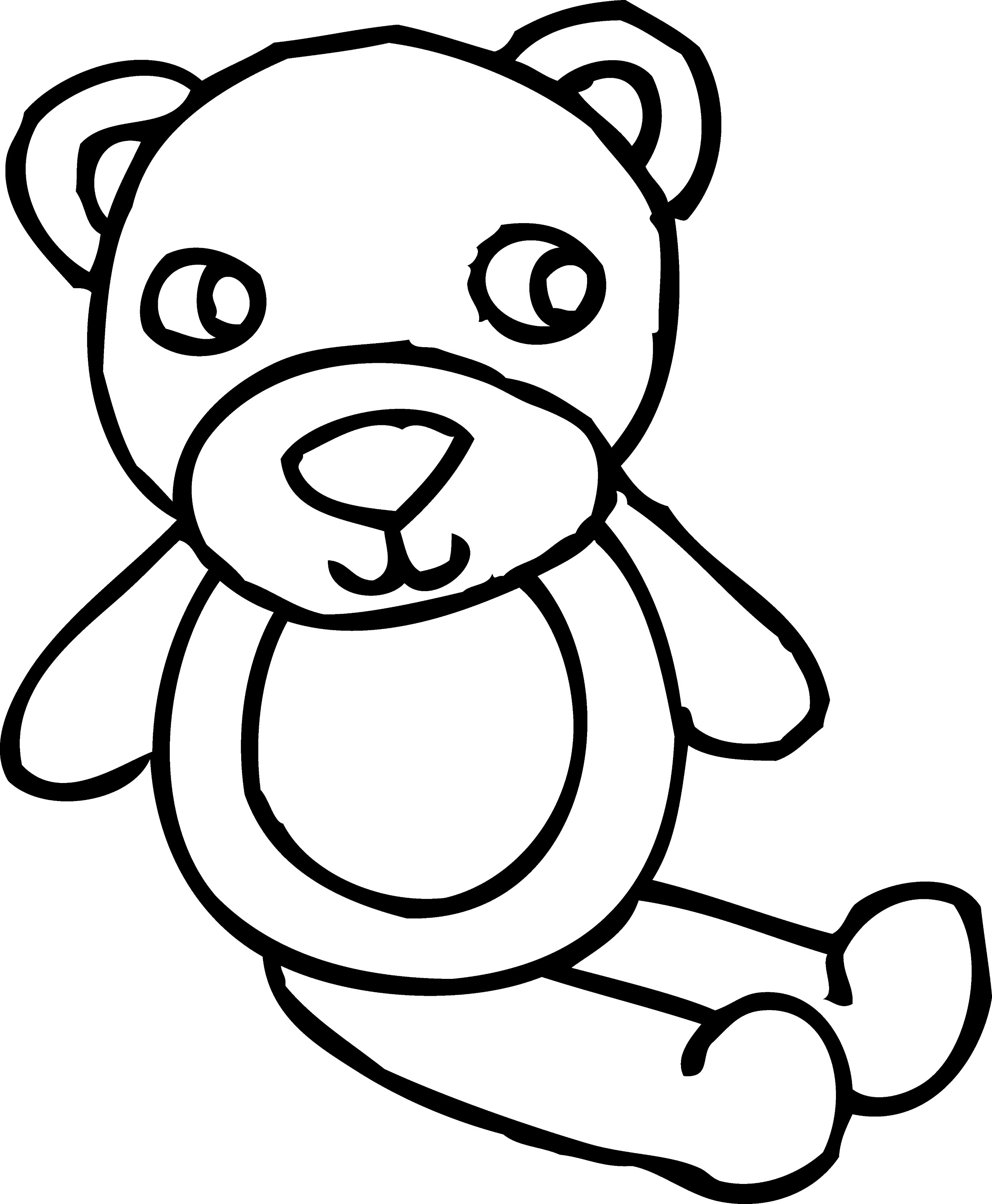 Teddy Bear Toy Coloring Page - Free Clip Art