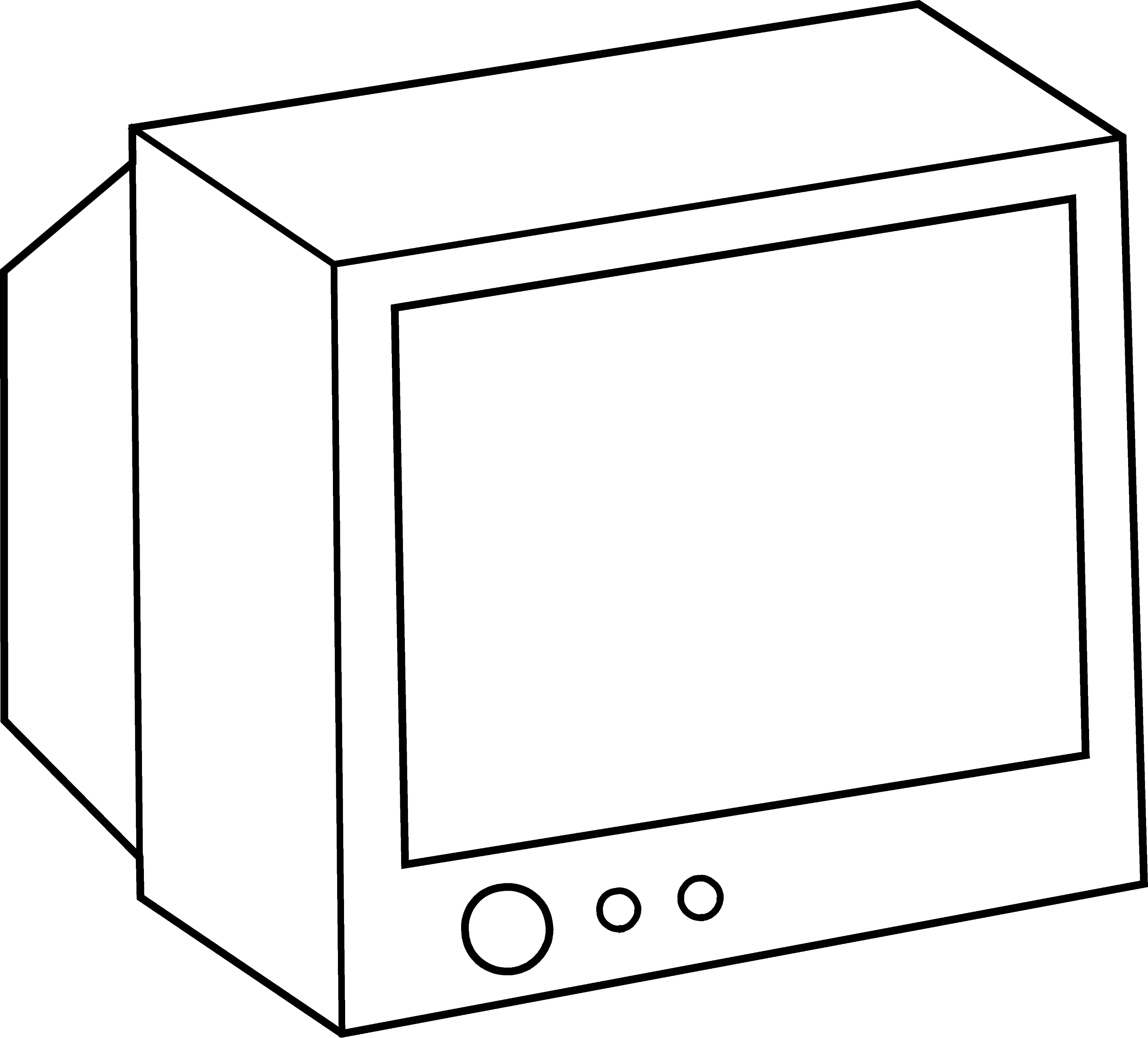Simple television coloring page free clip art for Tv coloring page