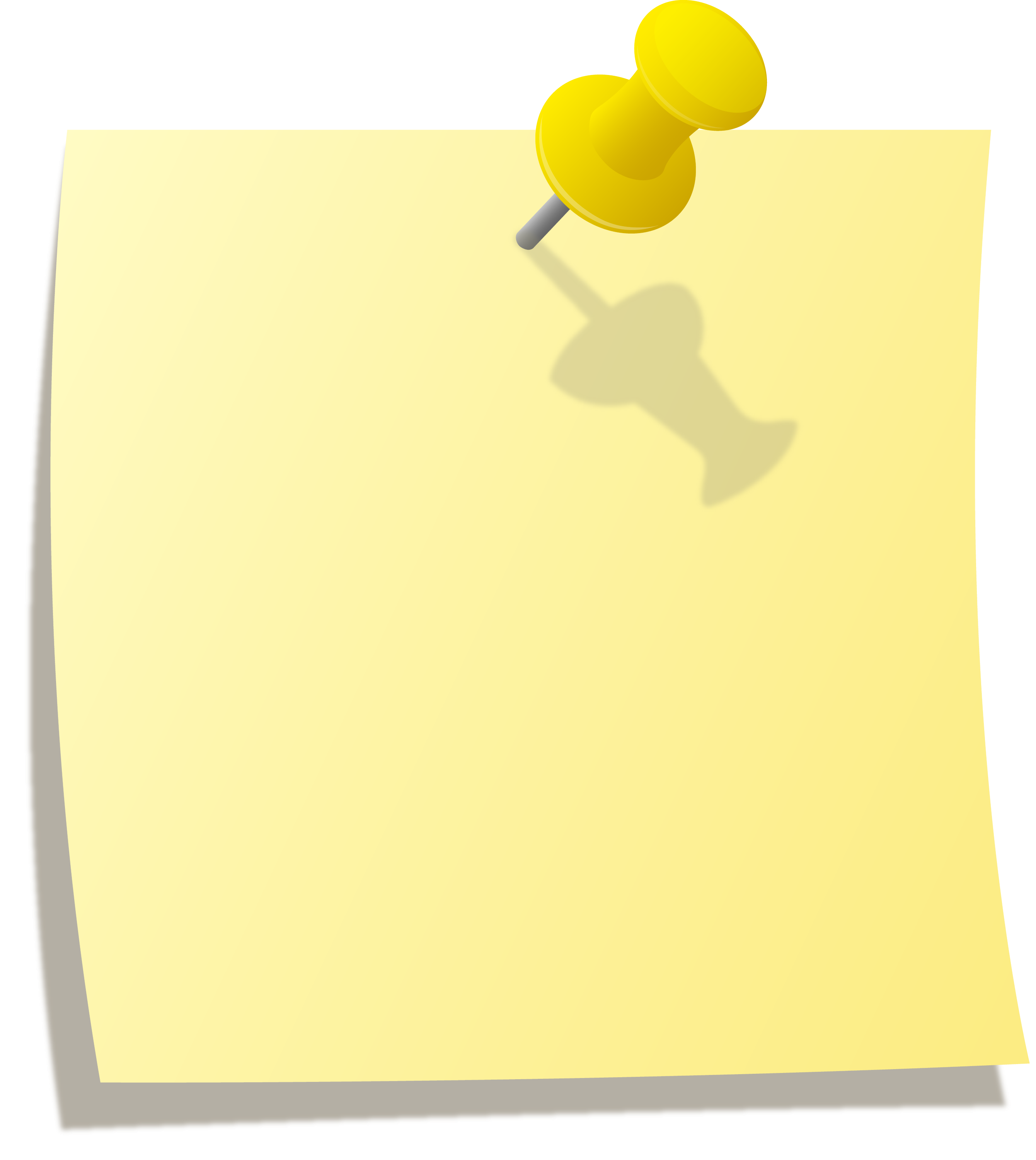 Yellow Note With Thumbtack - Free Clip Art