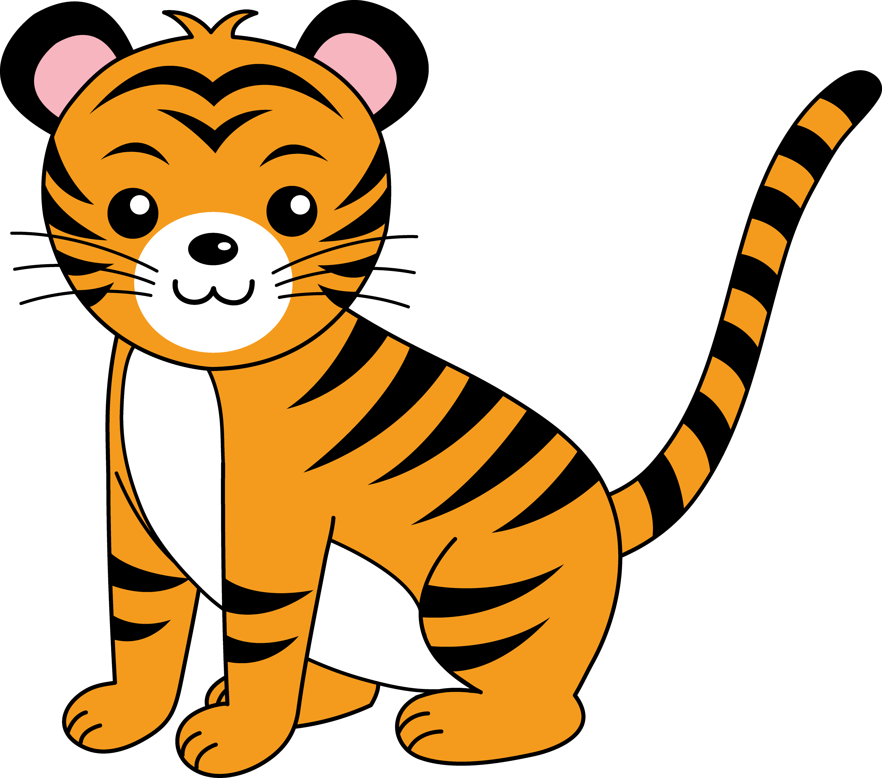 Cute Orange Tiger Cub - Free Clip Art