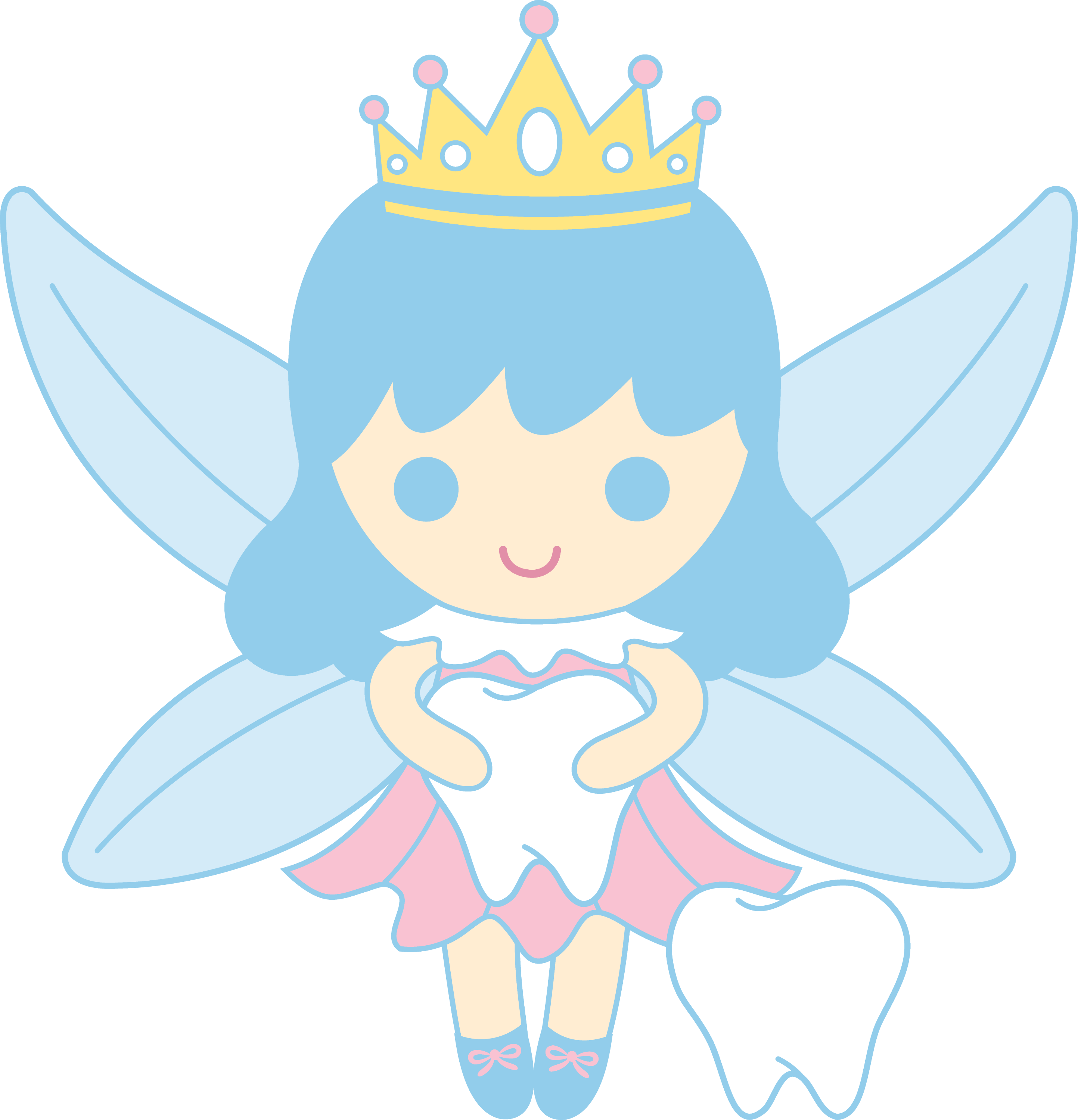 Cute Tooth Fairy Collecting Teeth Free Clip Art