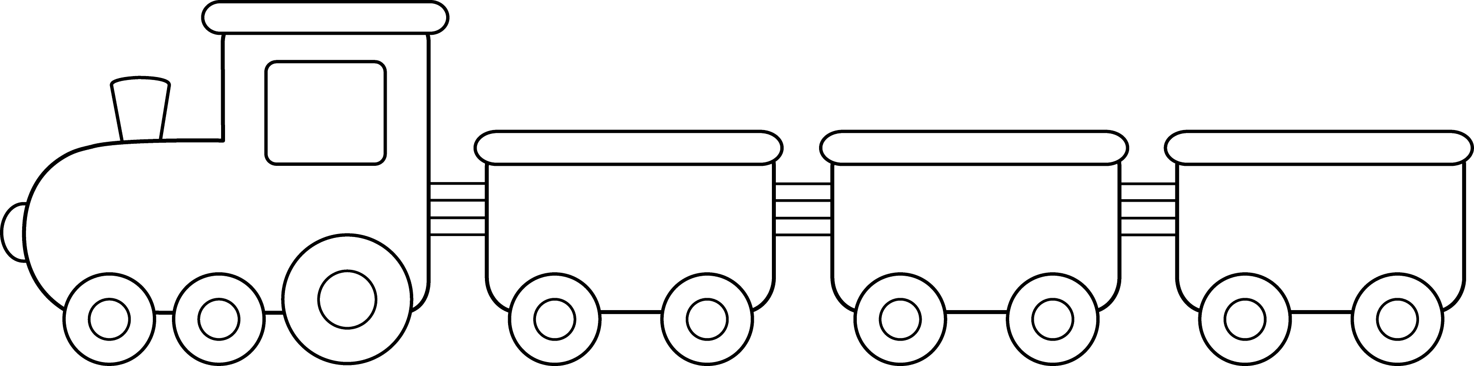 Line Drawing Train : Train black and white clipart