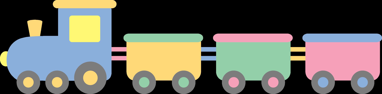 Cute Pastel Colored Train - Free Clip Art
