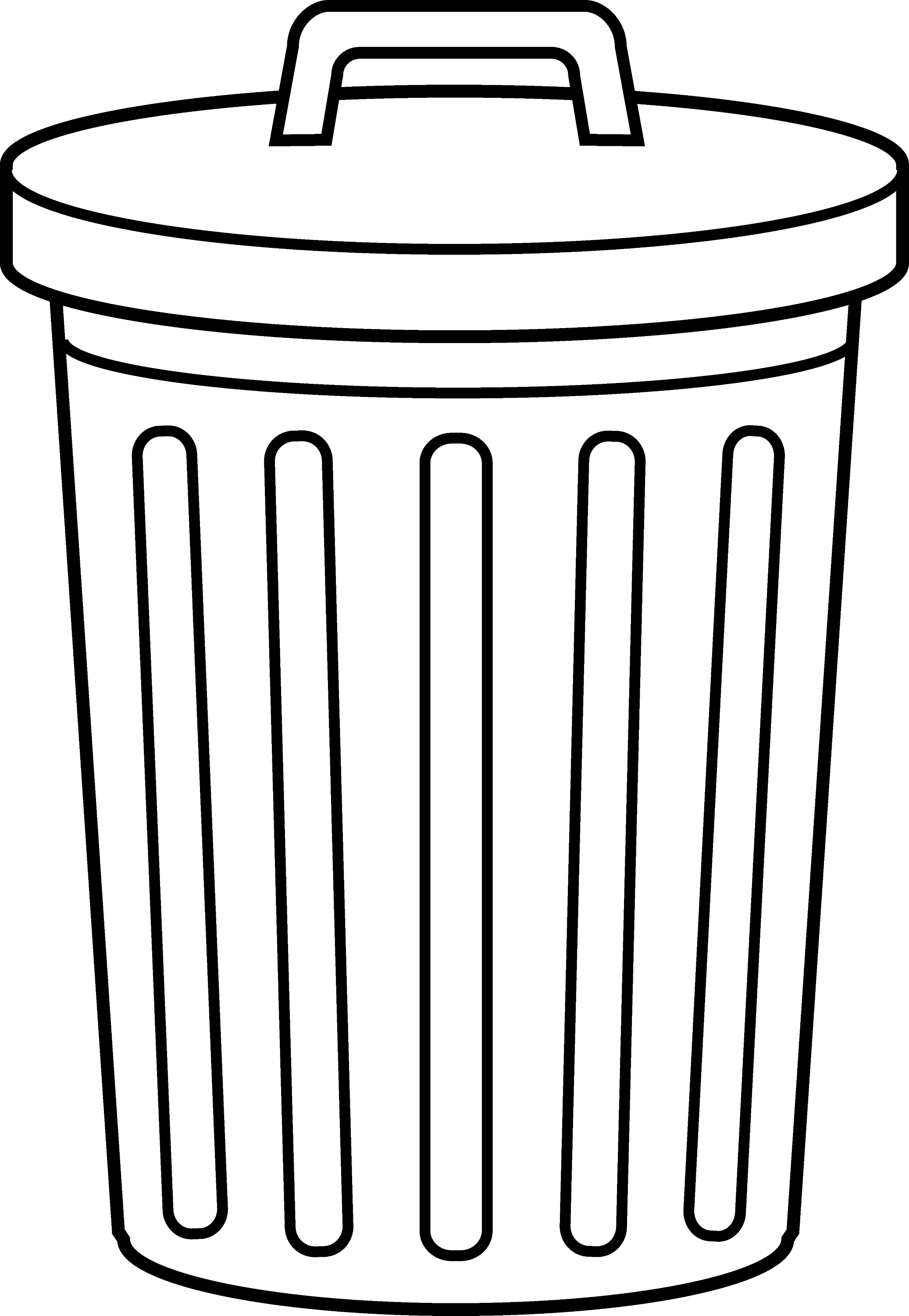 Garbage Can Line Art - Free Clip Art