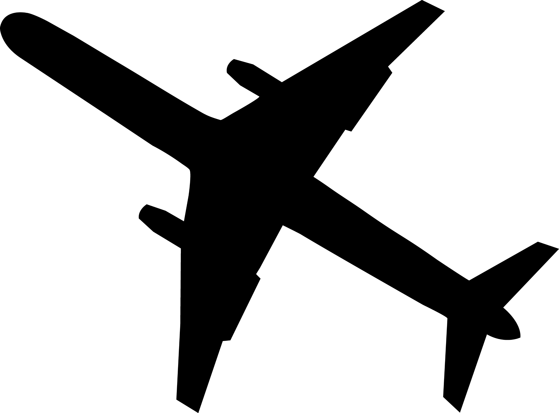 Airplane silhouette. Black free clip art