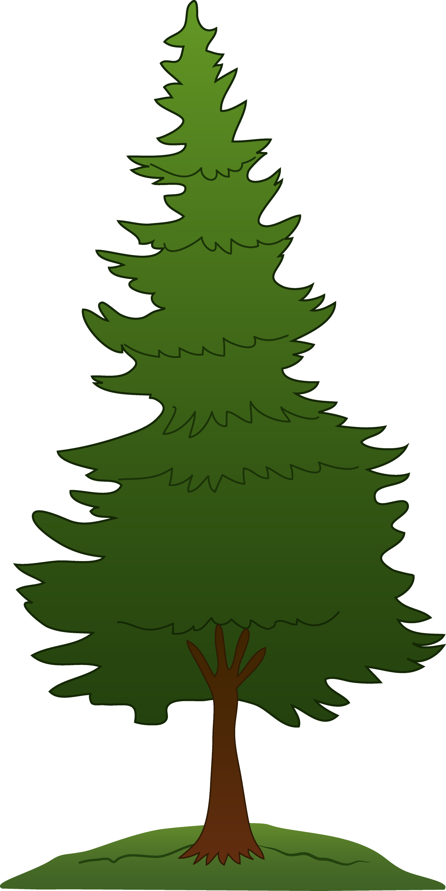 Green Pine Tree Design - Free Clip Art