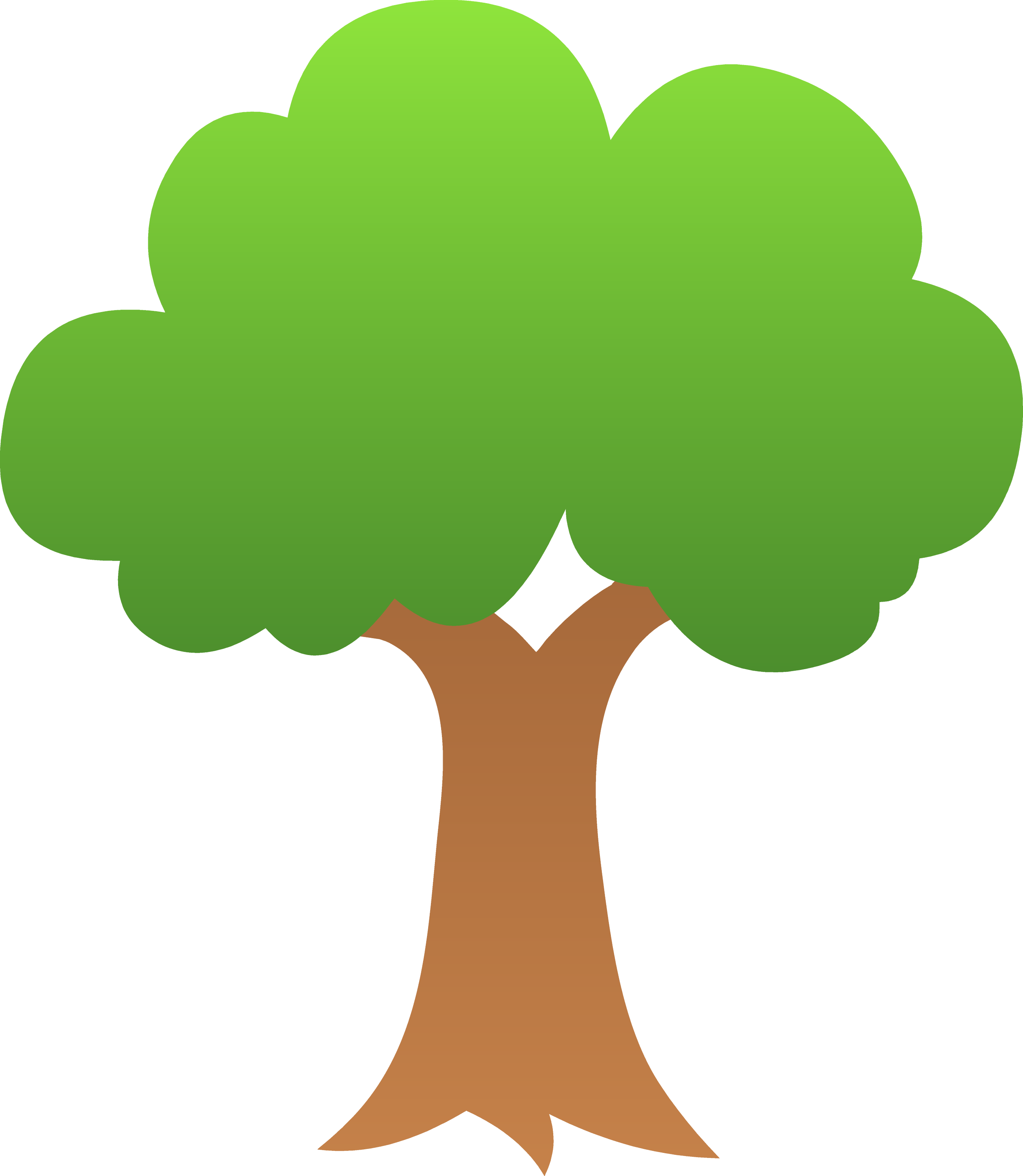 Cute Green Tree Design - Free Clip Art