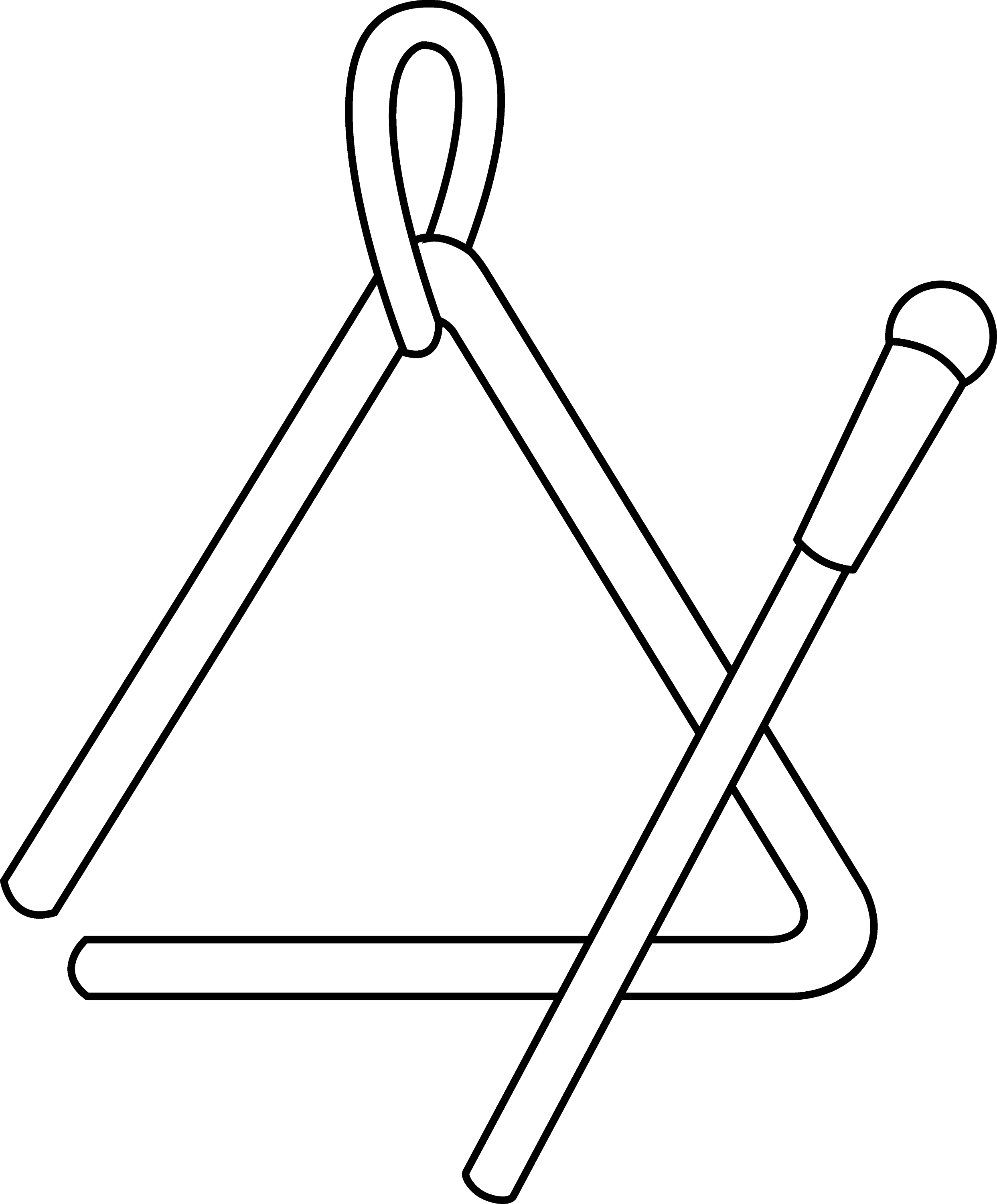 triangle instrument line art - Triangle Instrument Coloring Page