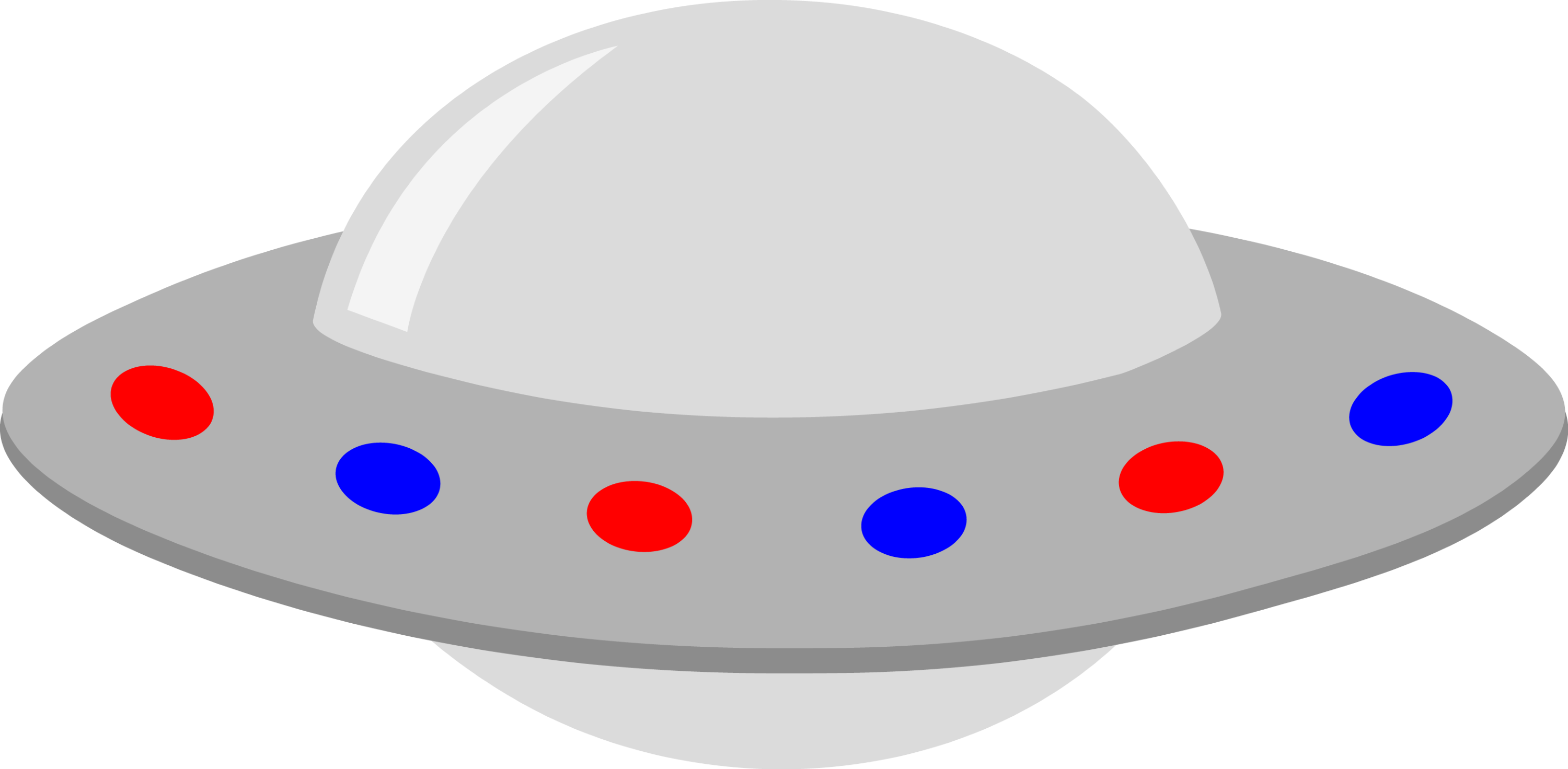 Alien Ufo Clip Art Silver ufo with red and blue lights - free clip art