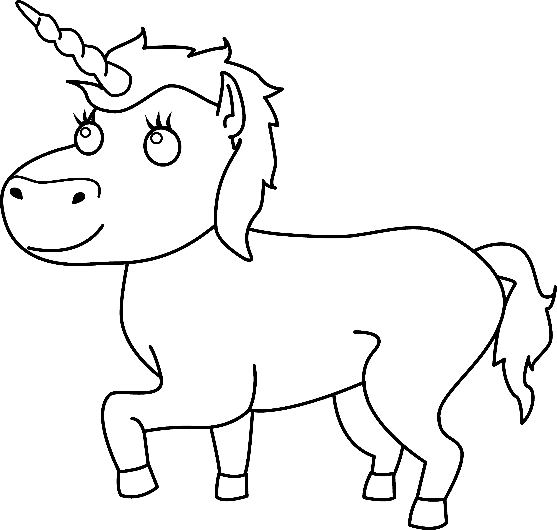 Line Drawing Unicorn : Colorable unicorn line art free clip