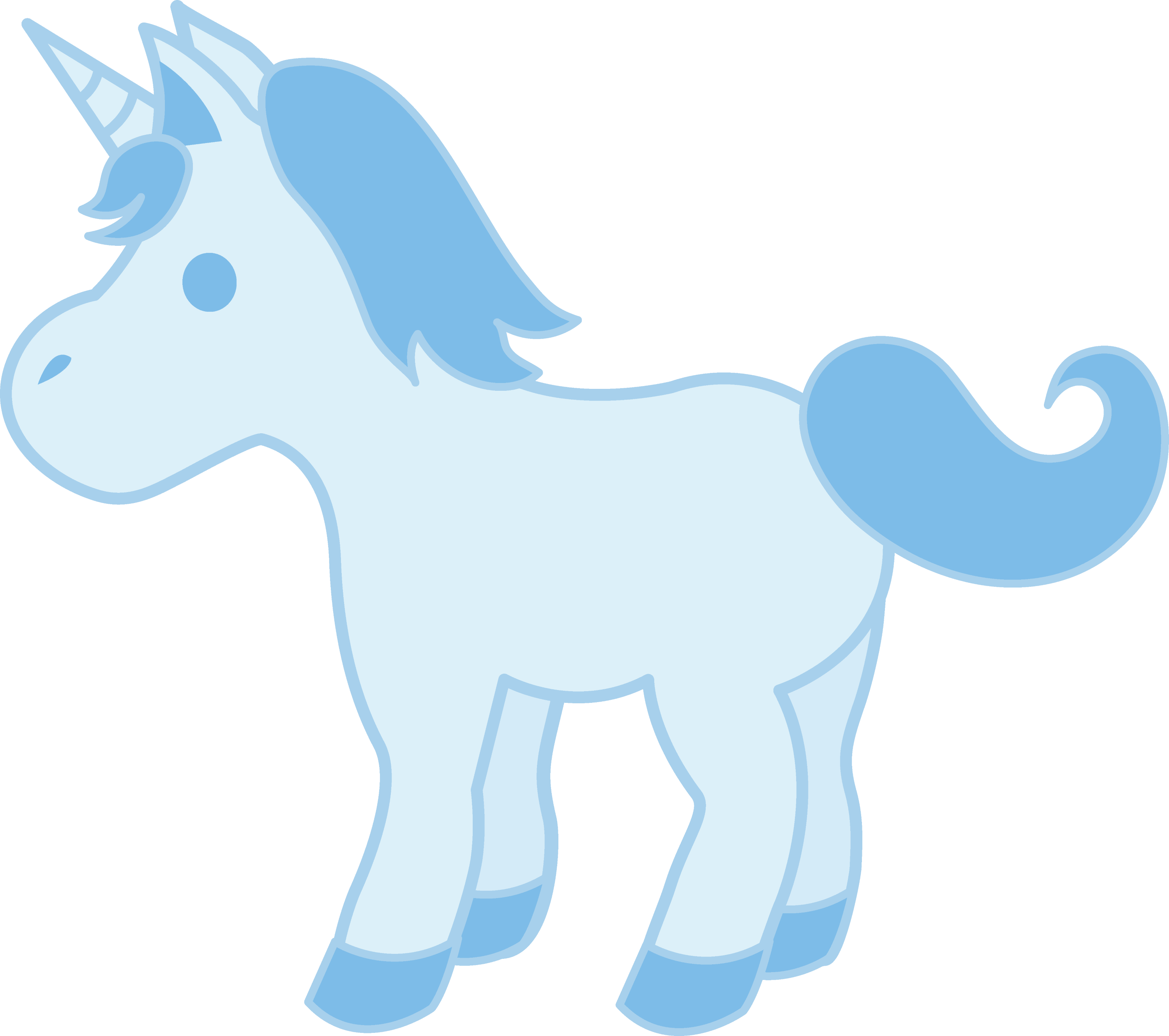 Cute Baby Blue Unicorn - Free Clip Art