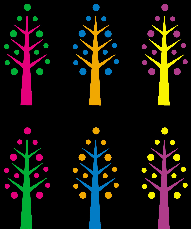 Cute Neon Christmas Trees - Free Clip Art