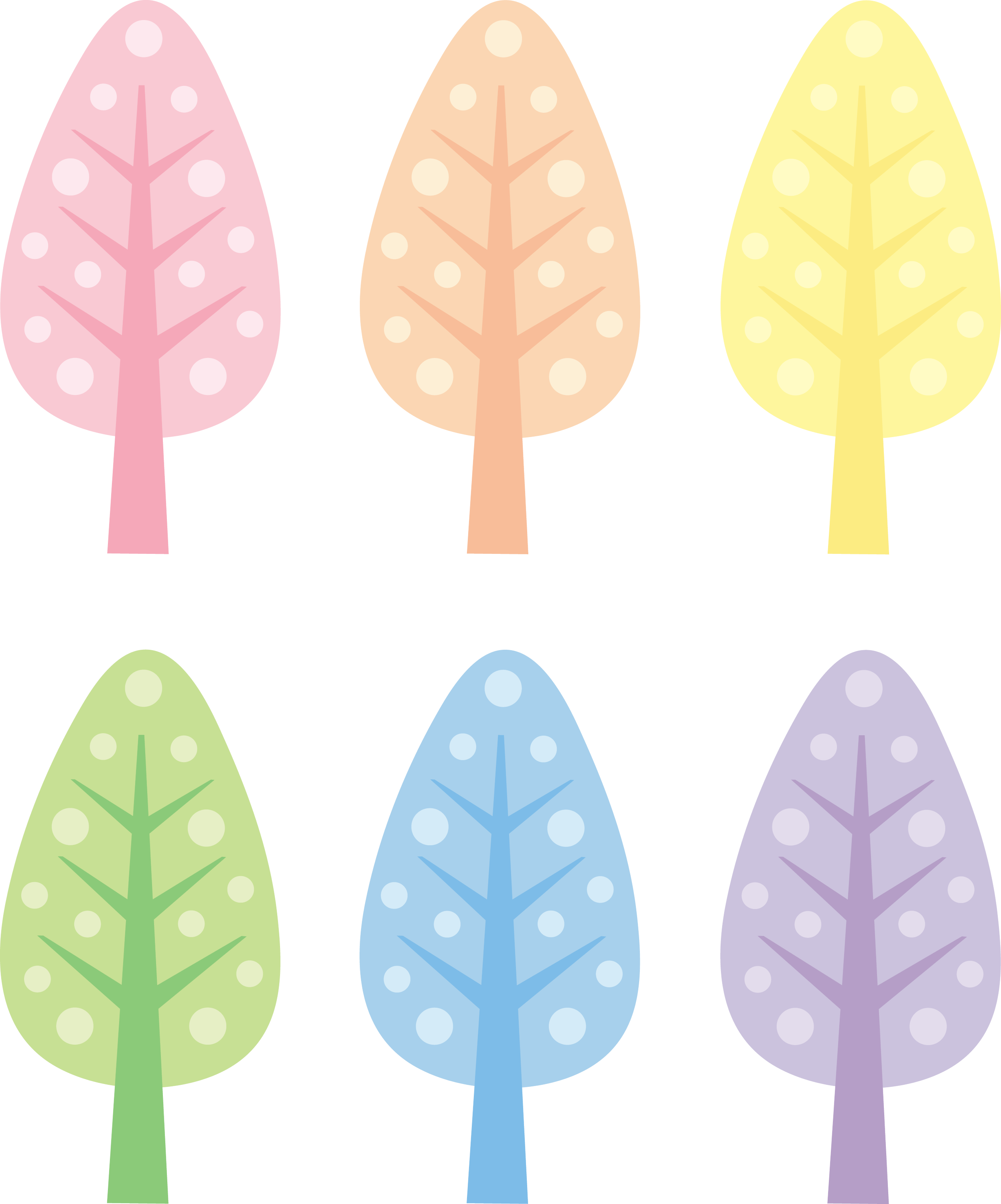 Cute Trees in Pastel Colors - Free Clip Art