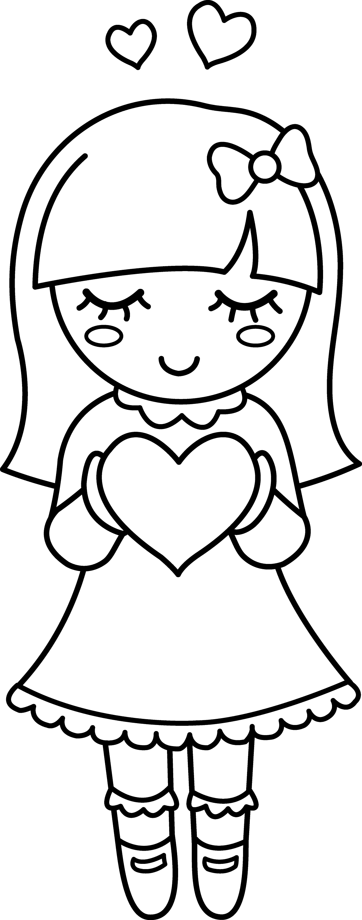 Line Drawing Valentine : Coloring clip art pages