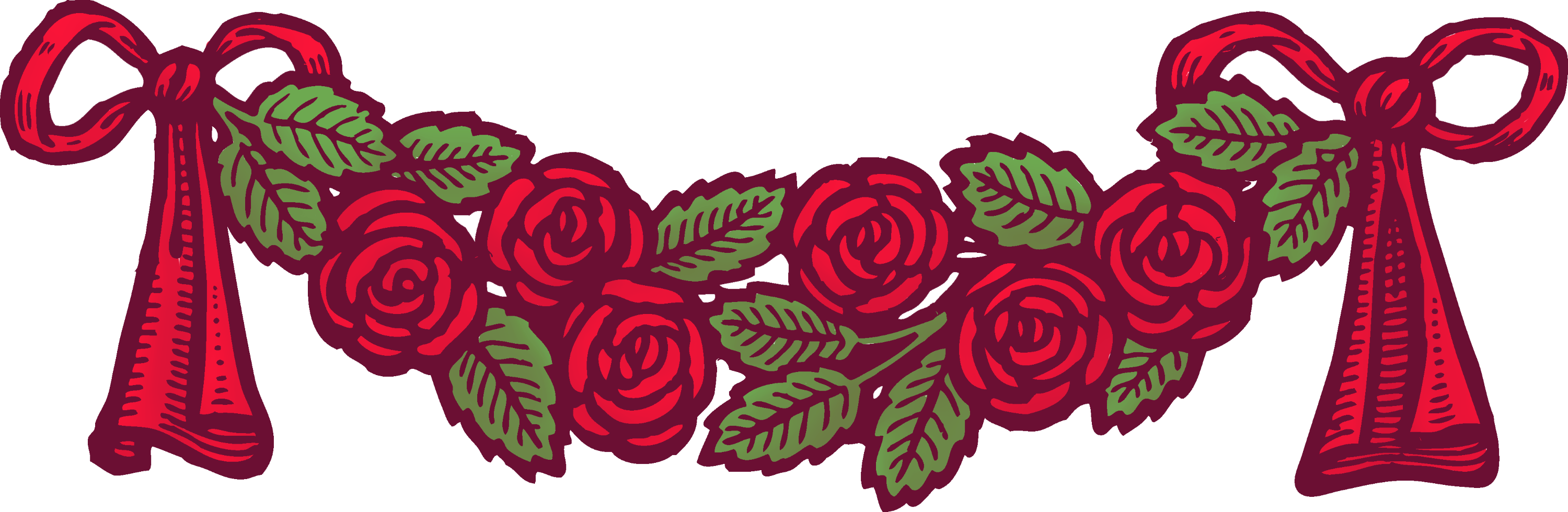 Preferred Vintage Red Roses With Ribbons Banner - Free Clip Art XR51