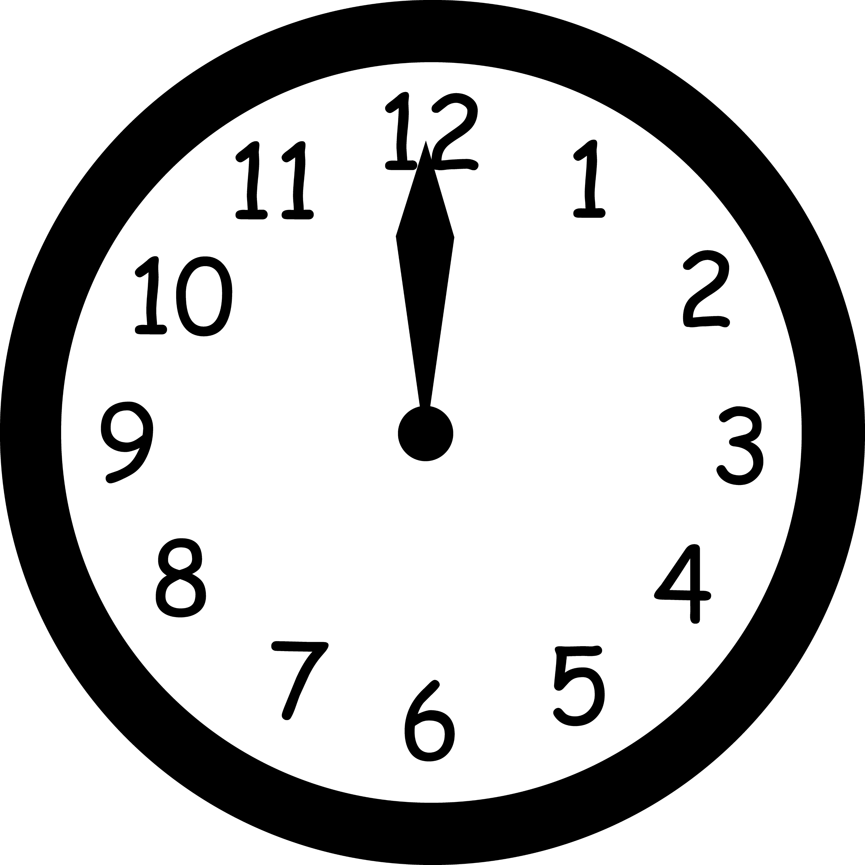 Wall Clock Striking Twelve - Free Clip Art