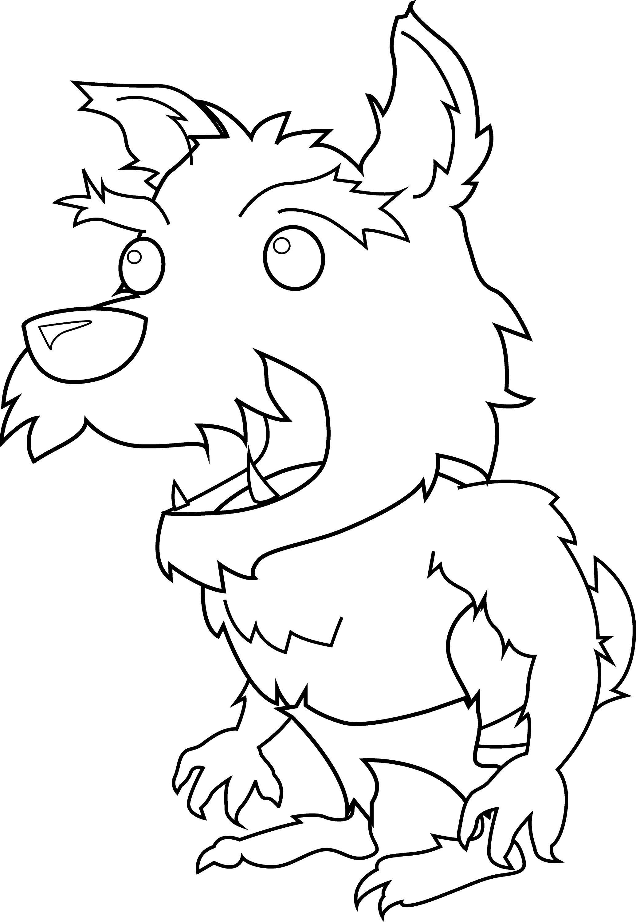 Scary Little Werewolf Coloring Page - Free Clip Art
