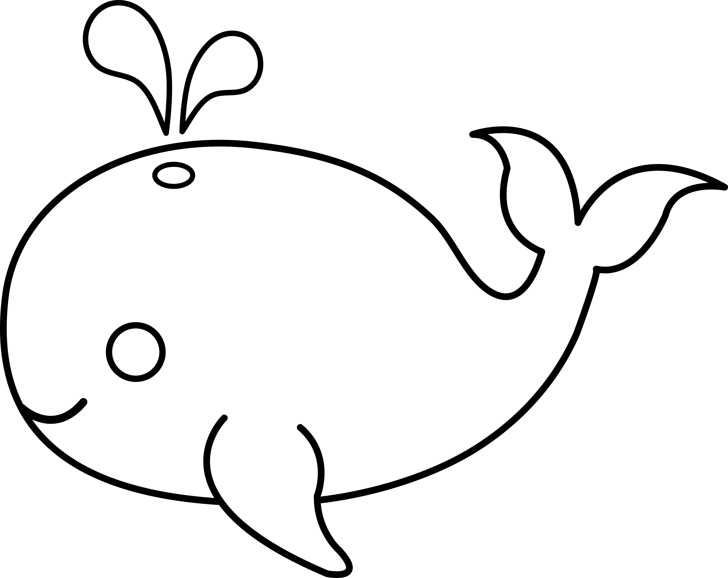 cute colorable whale free clip art