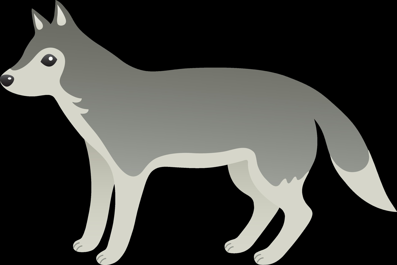 Wolf cartoon. Cute grey free clip