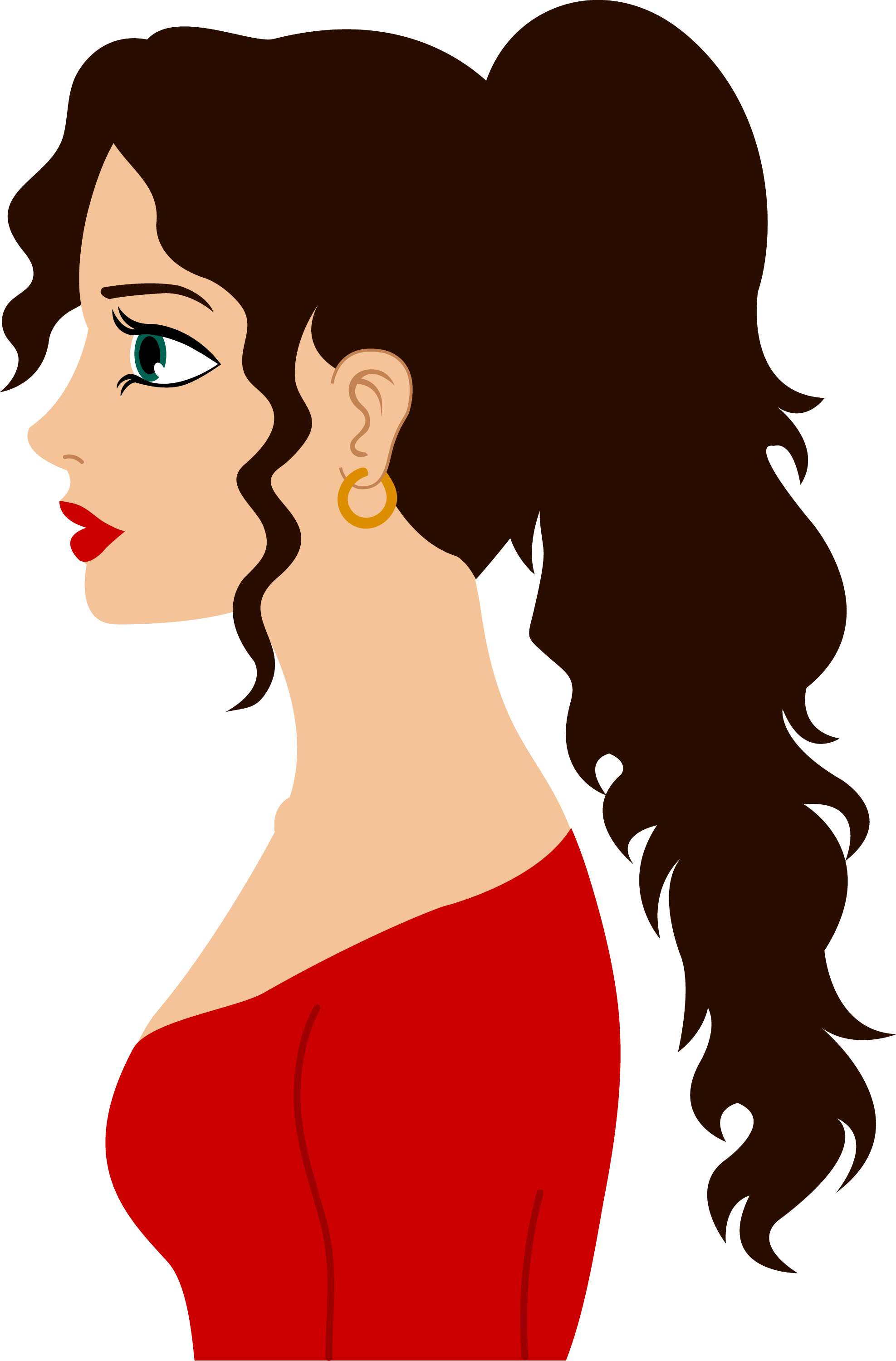 Side profile of woman with curly hair