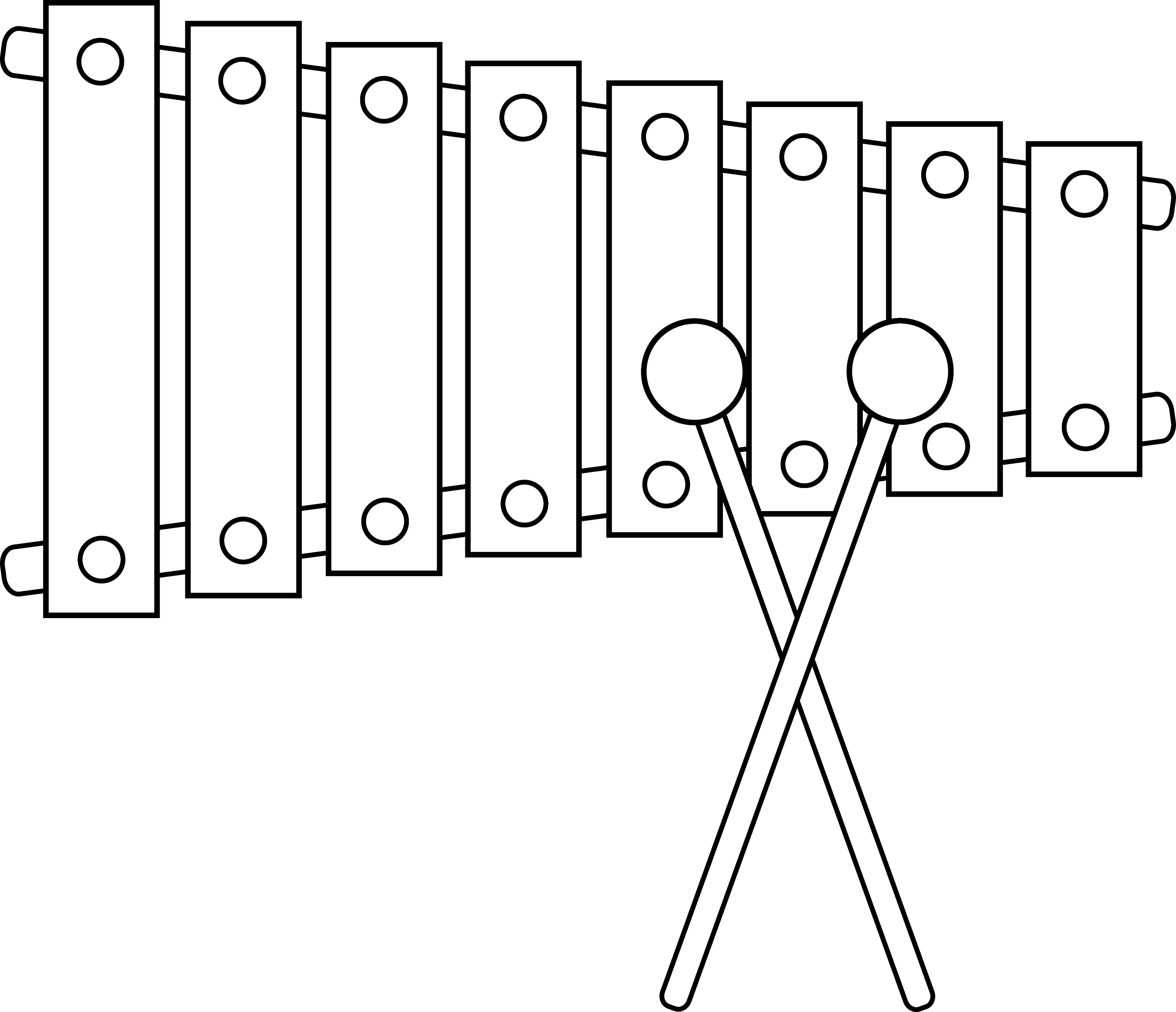 Xylophone Line Art - Free Clip Art