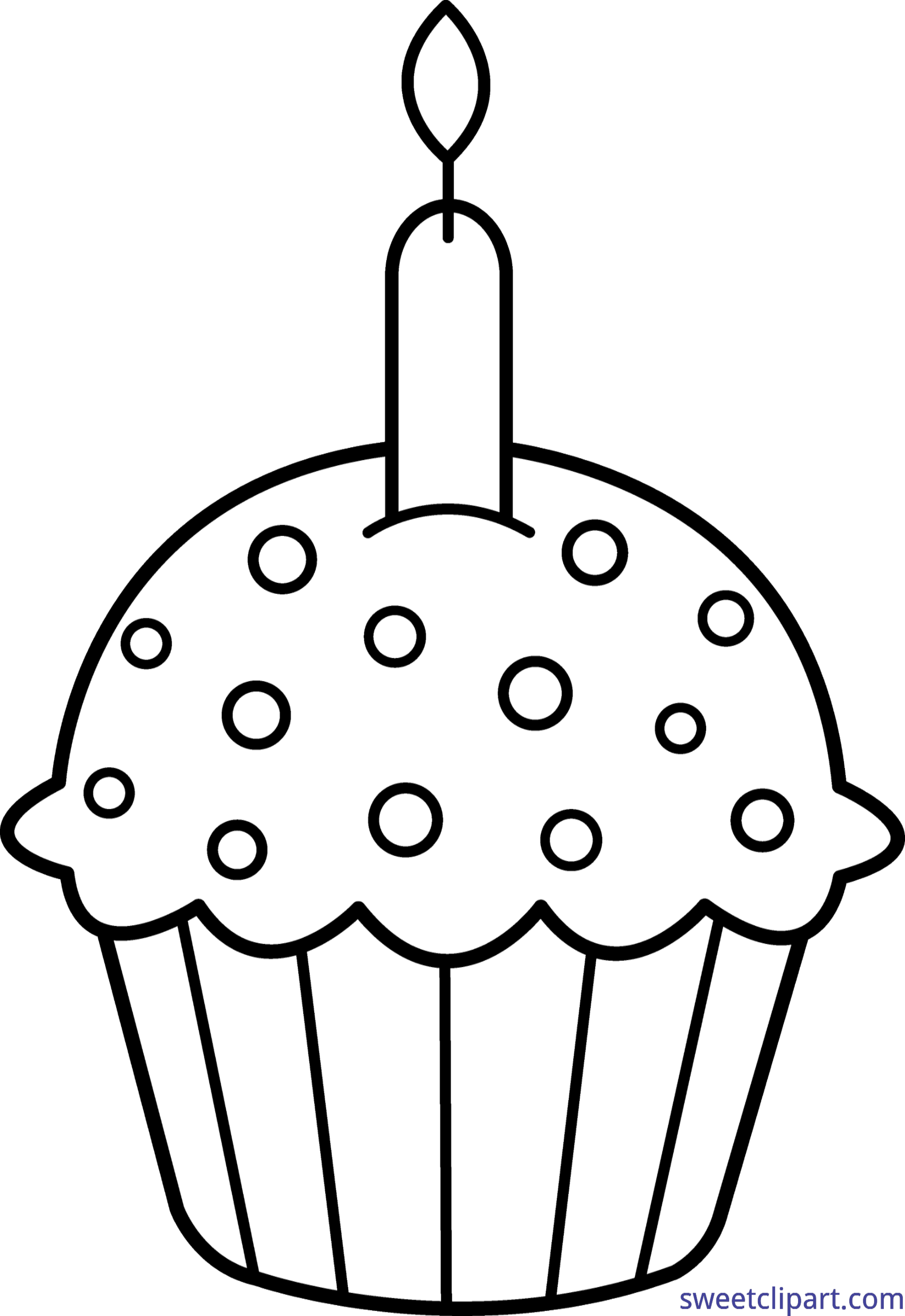 Birthday Cupcake Coloring Page Clip Art - Sweet Clip Art