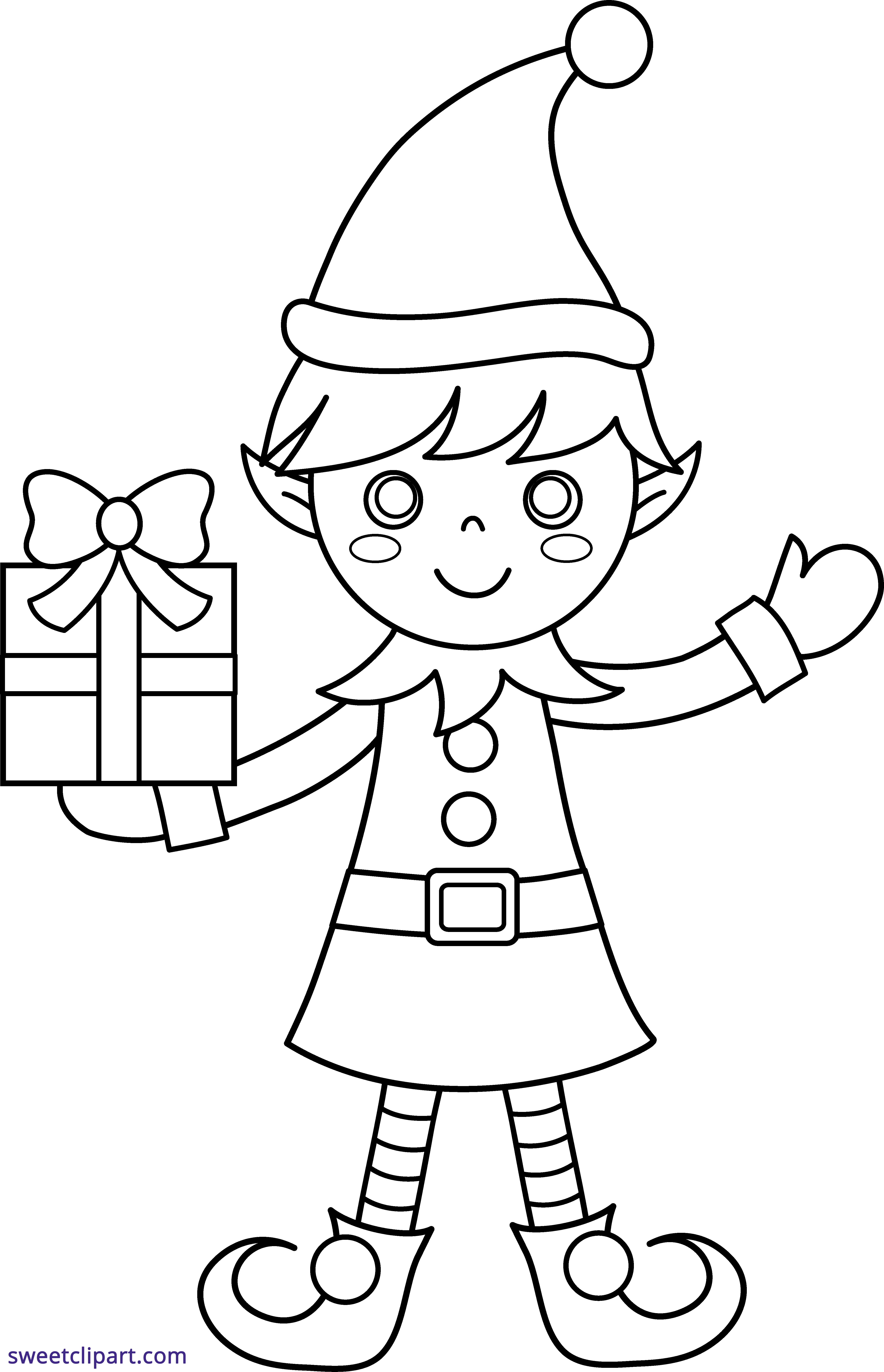 Christmas Elf Coloring Page Clipart - Sweet Clip Art