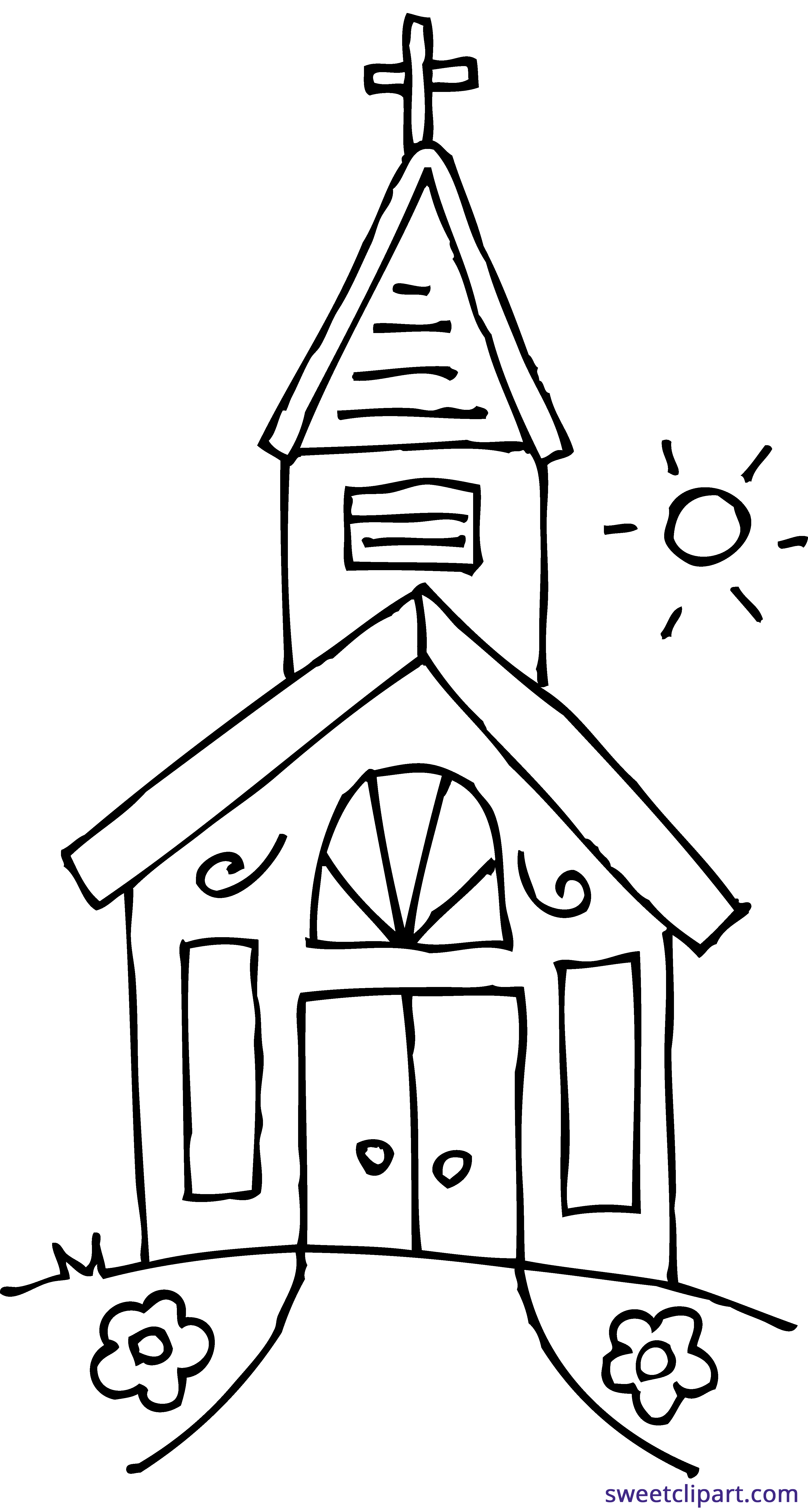Church 2 Coloring Page Clipart - Sweet Clip Art