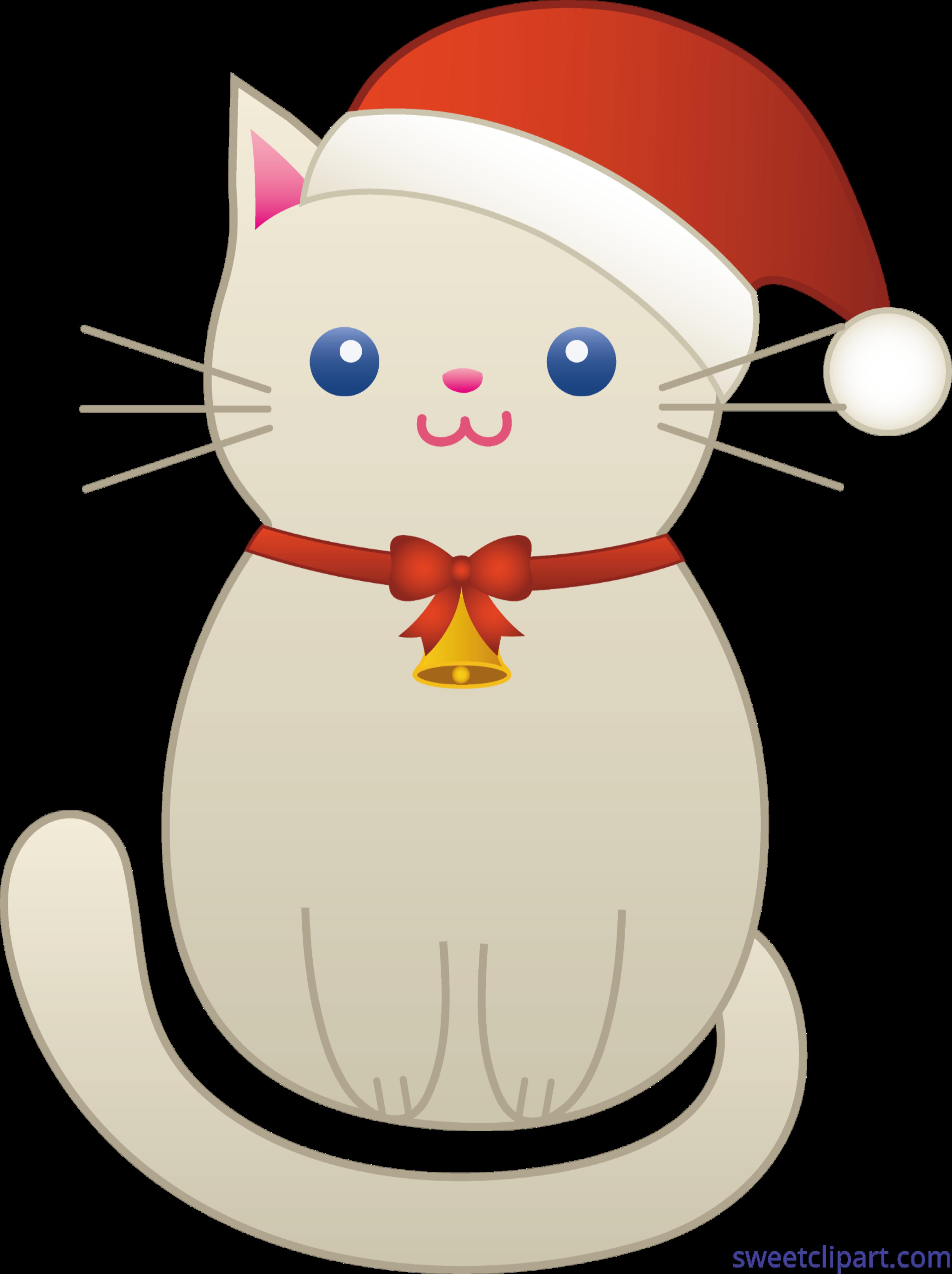 Cute Christmas Clip Art.Cute Christmas Cat Clip Art Sweet Clip Art