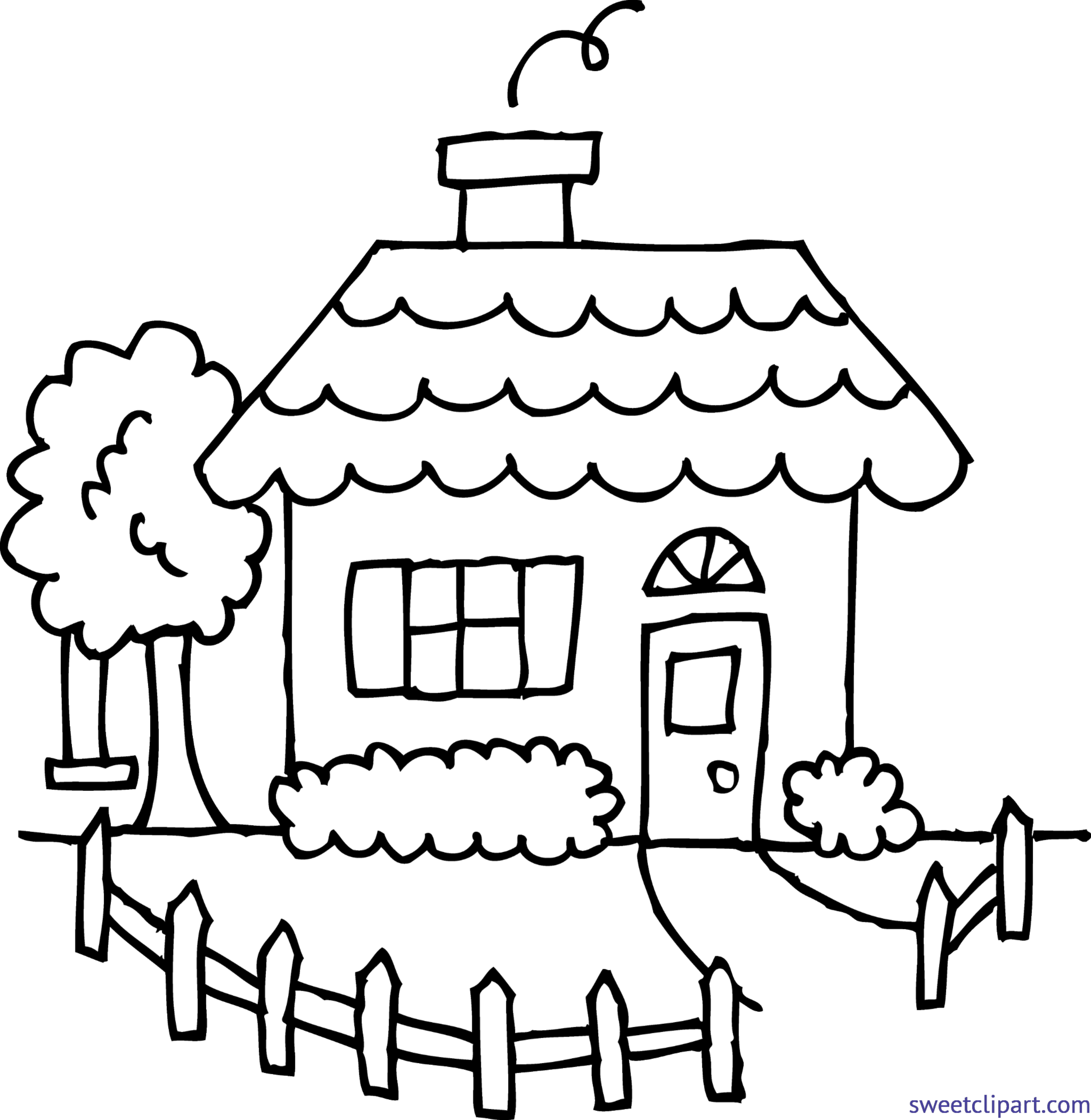Cute House 1 Coloring Page Clip Art - Sweet Clip Art
