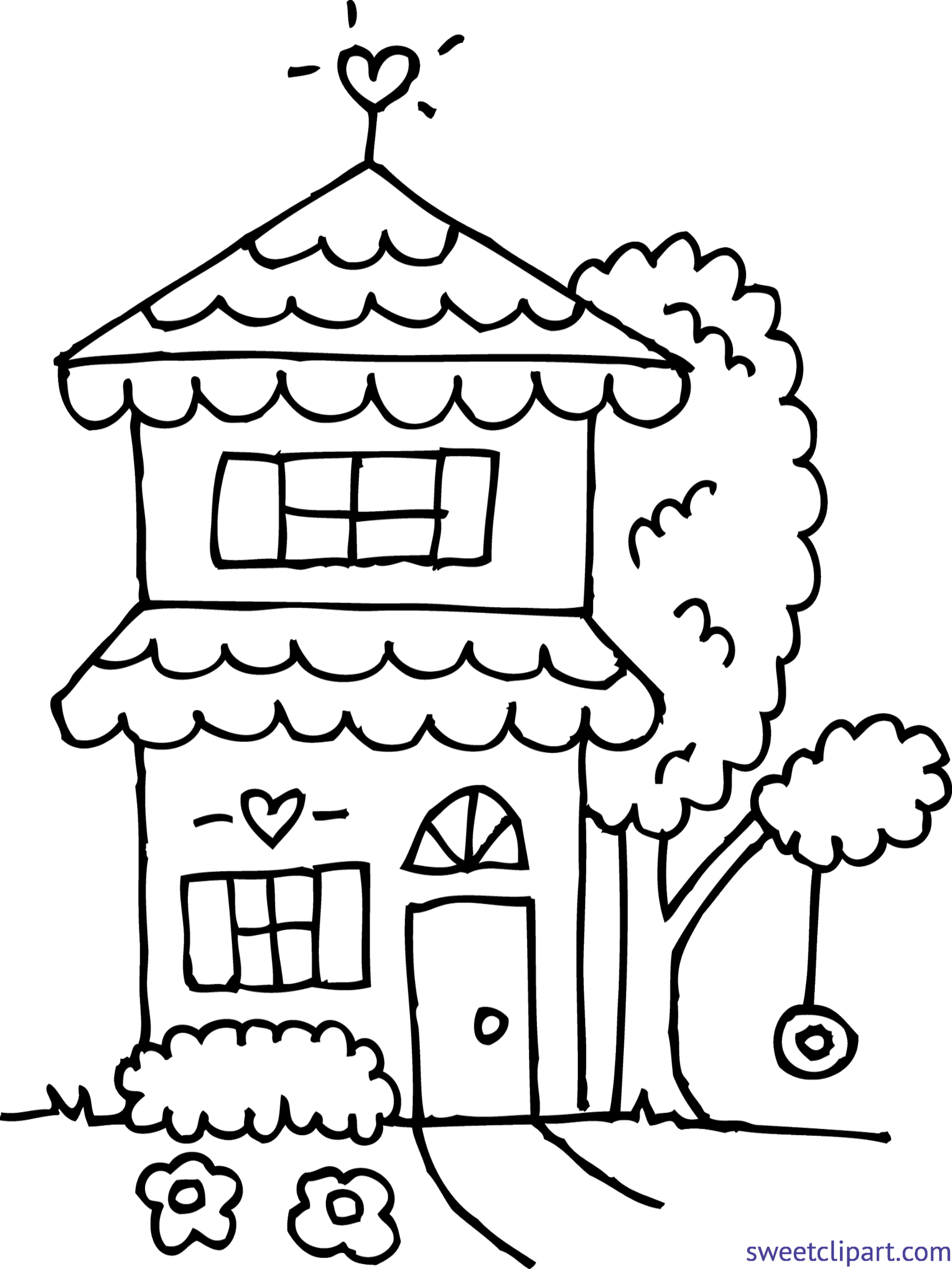 cute house 2 coloring page clip art - House Coloring Pages