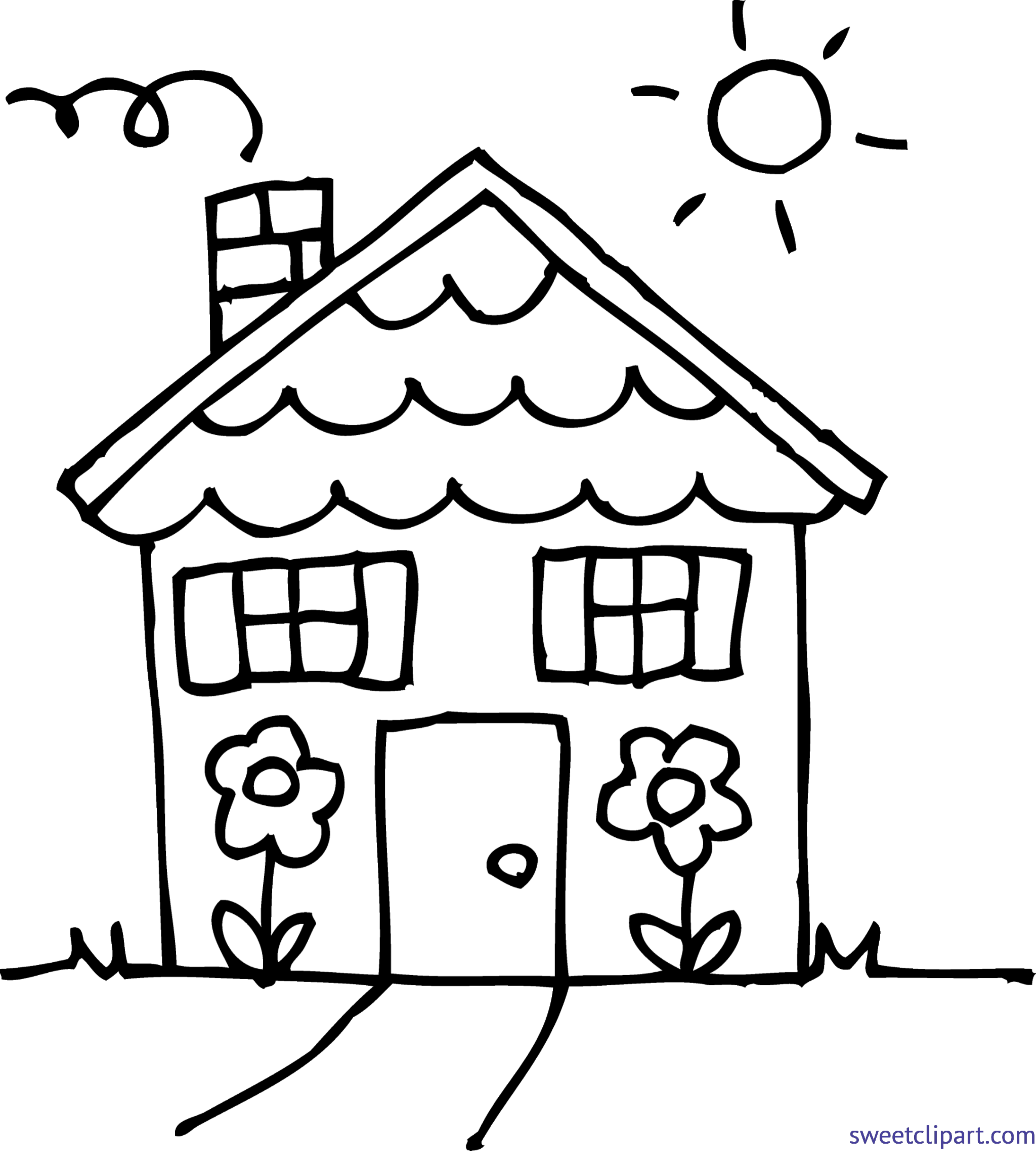 cute house 3 coloring page clip art sweet clip art rh m sweetclipart com black and white house clipart images black and white house clipart vector