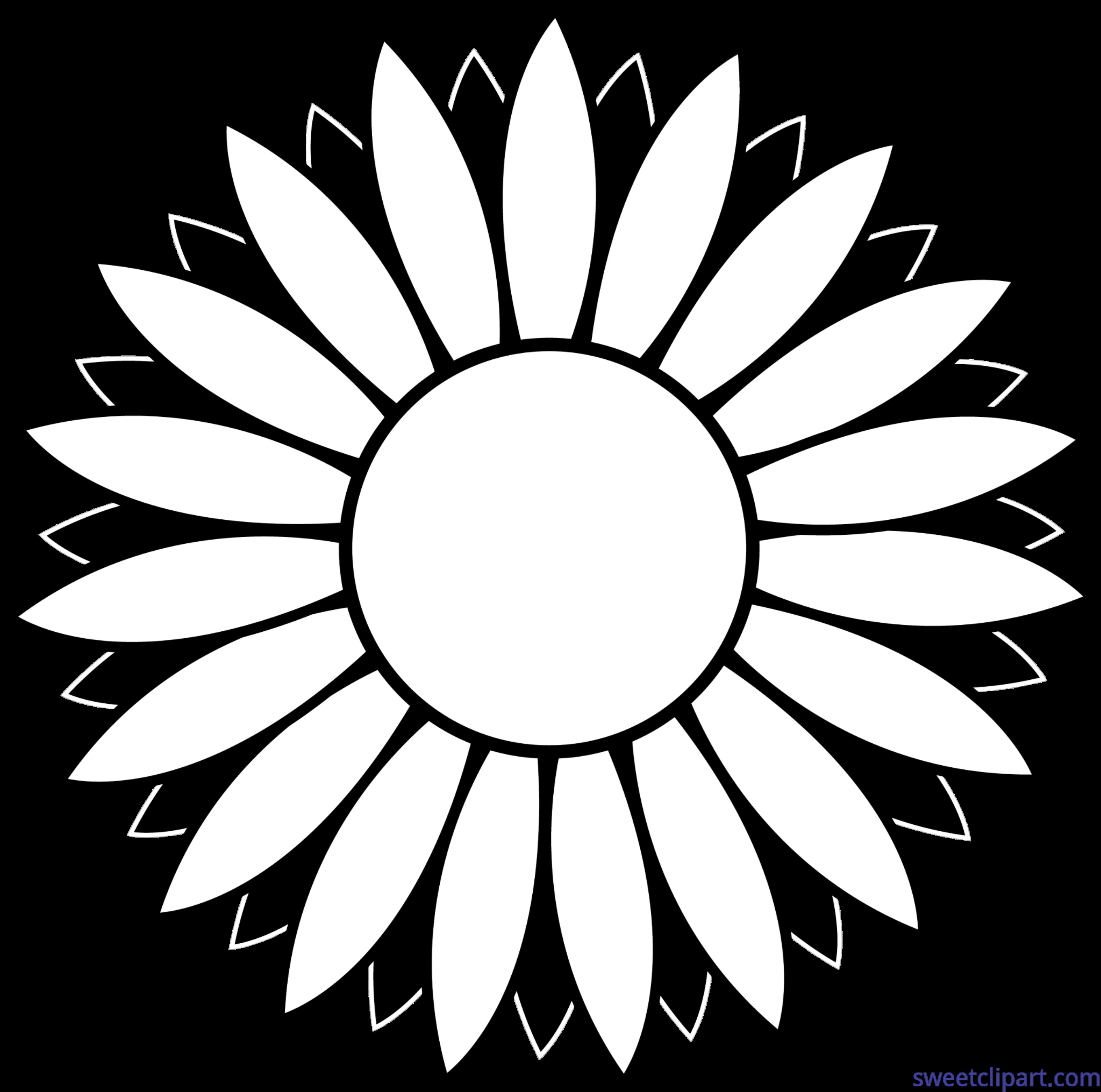 Flower Sunflower Black And White Lineart Clip Art - Sweet Clip Art for Clipart Sunflower Black And White  67qdu