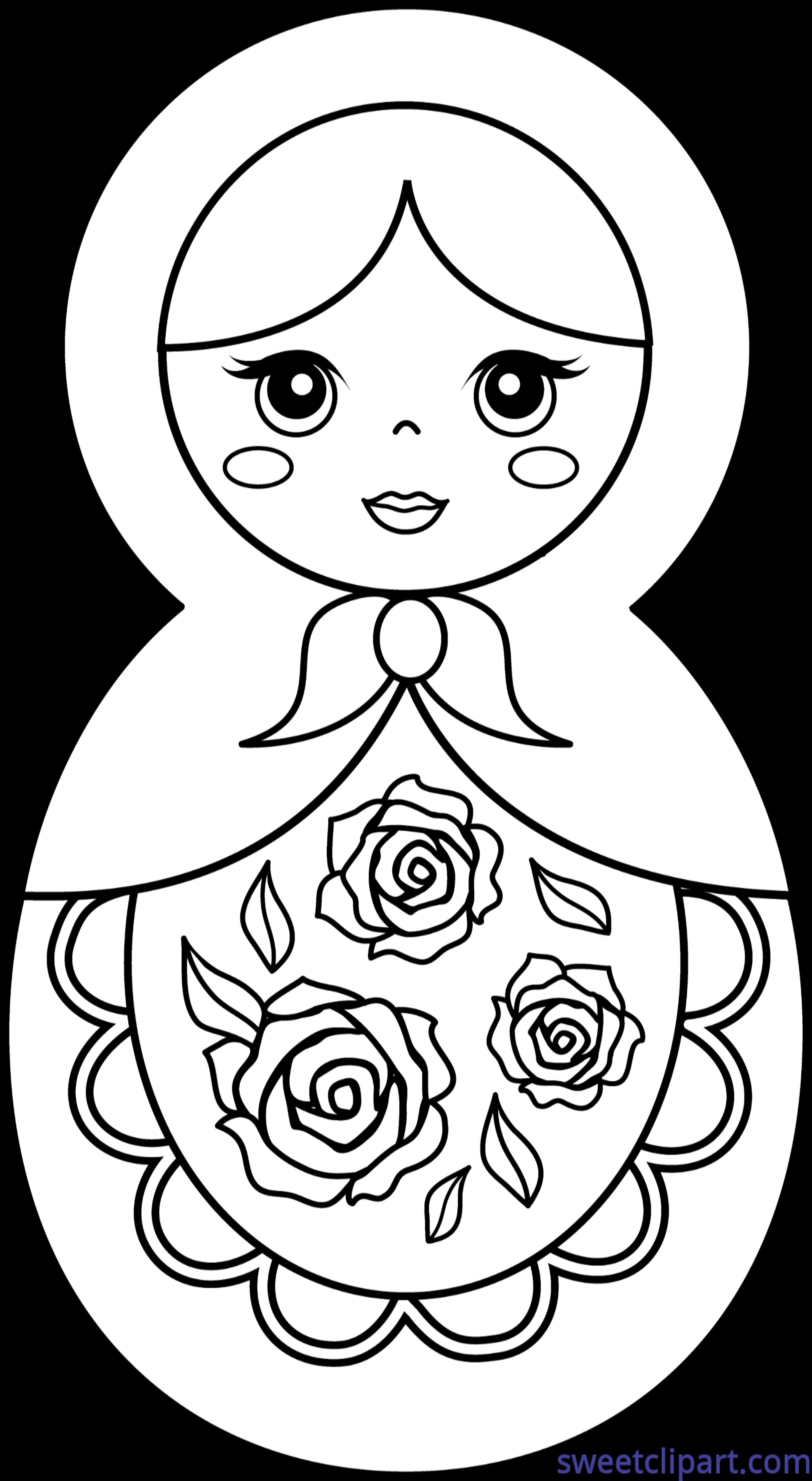 Matryoshka Doll Coloring Page Clip Art - Sweet Clip Art
