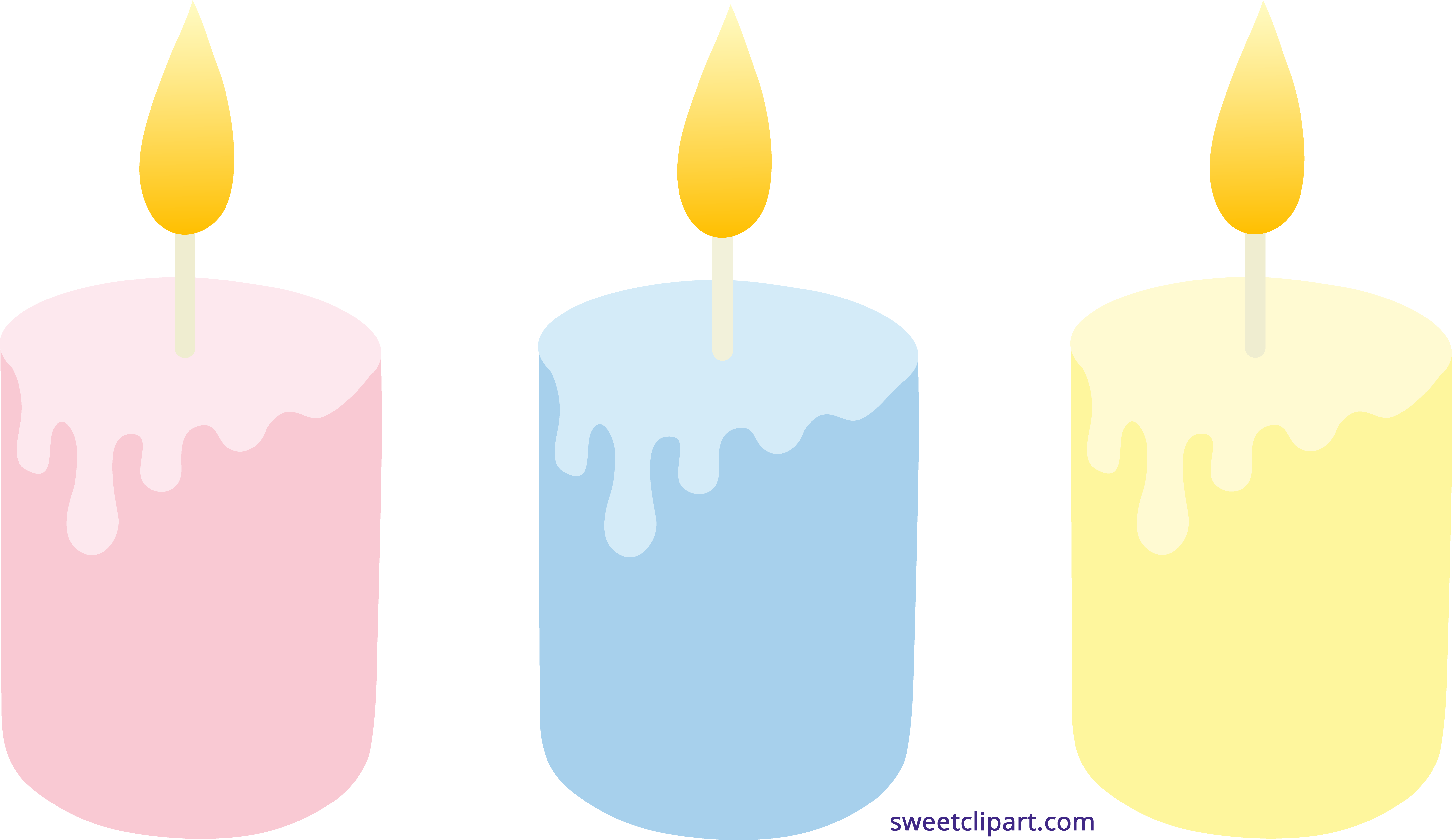 Pastel Colored Candles Set Clipart