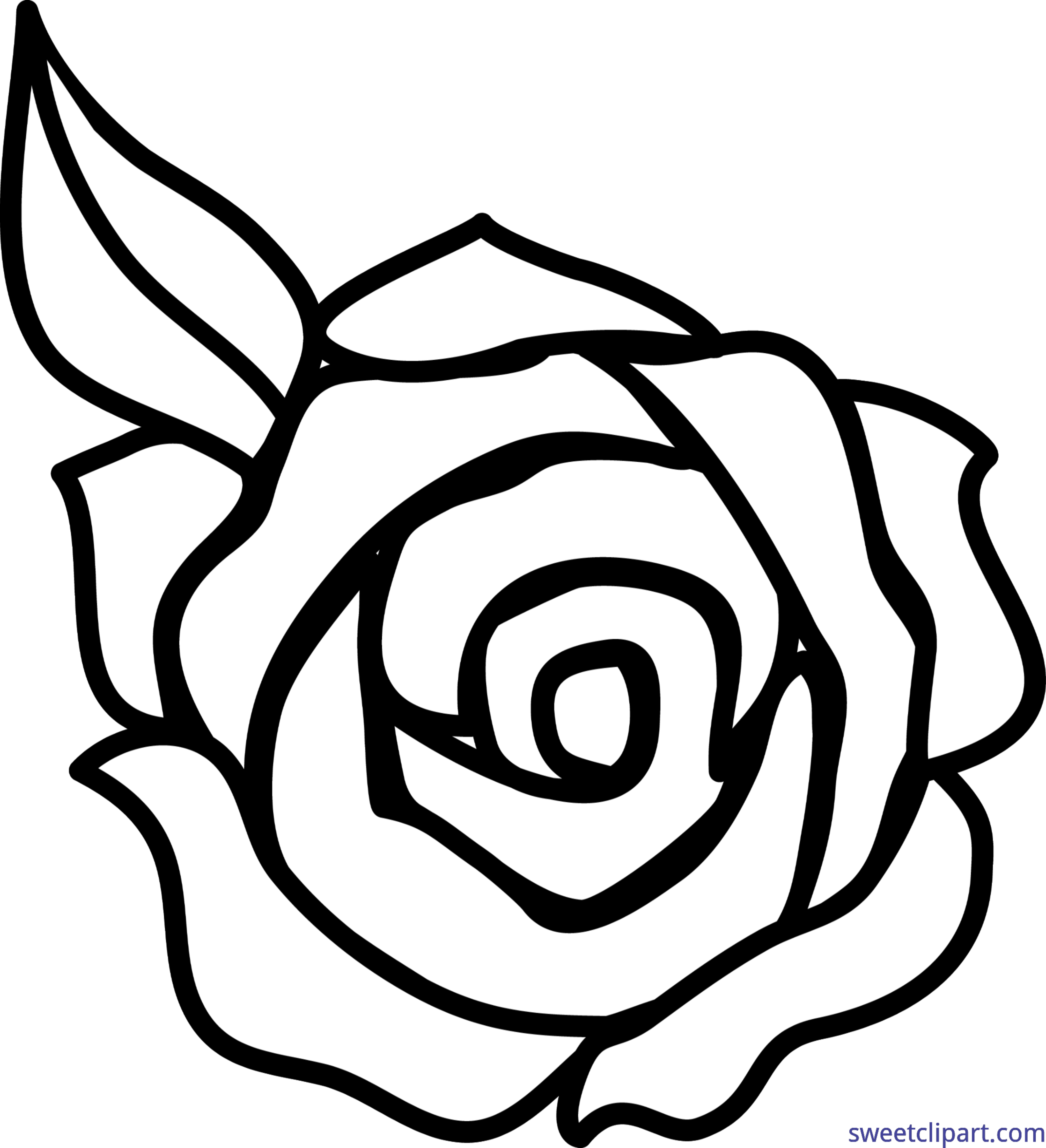 Rose black and white lineart clip art