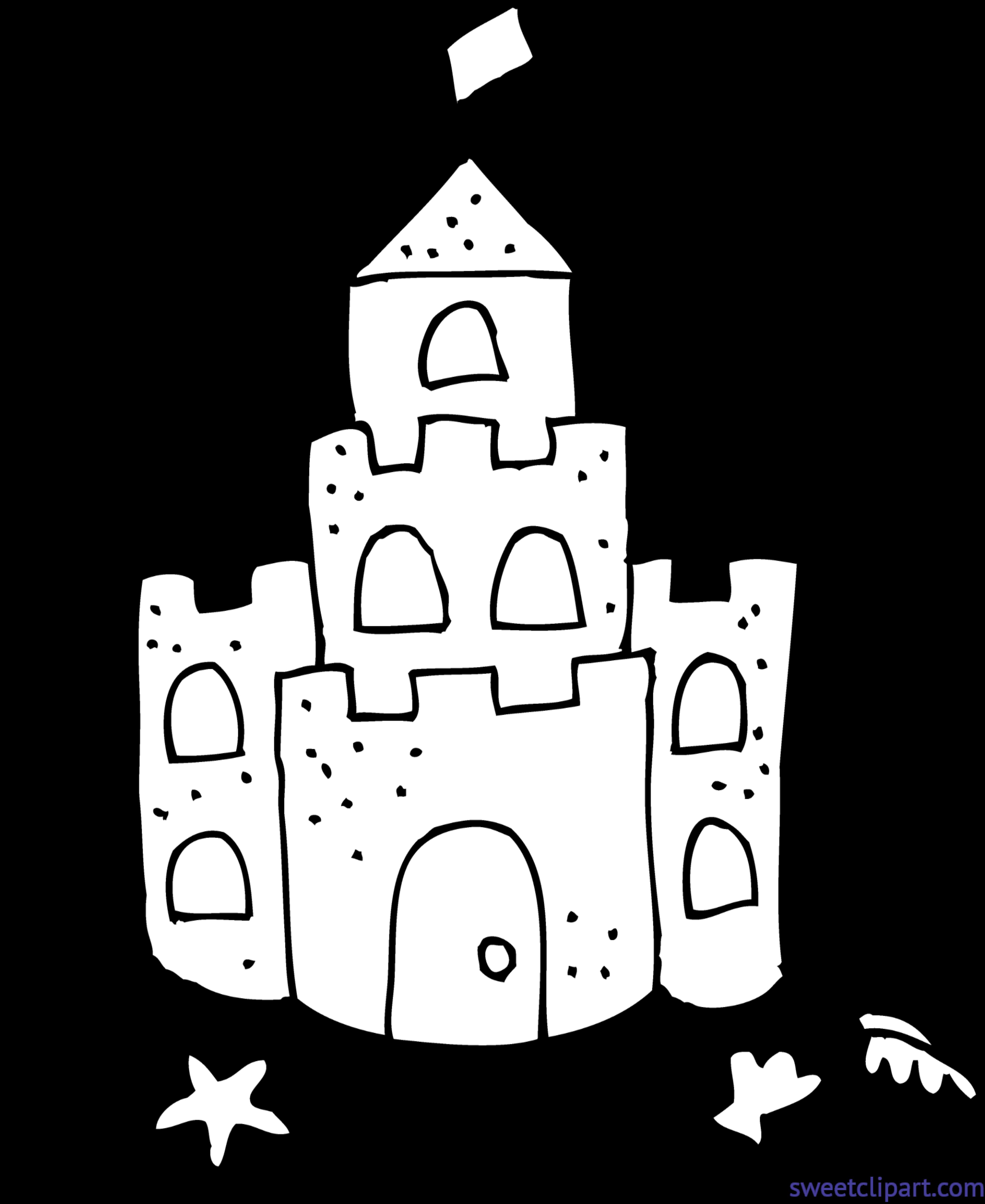 Sand Castle Coloring Page Clip Art - Sweet Clip Art